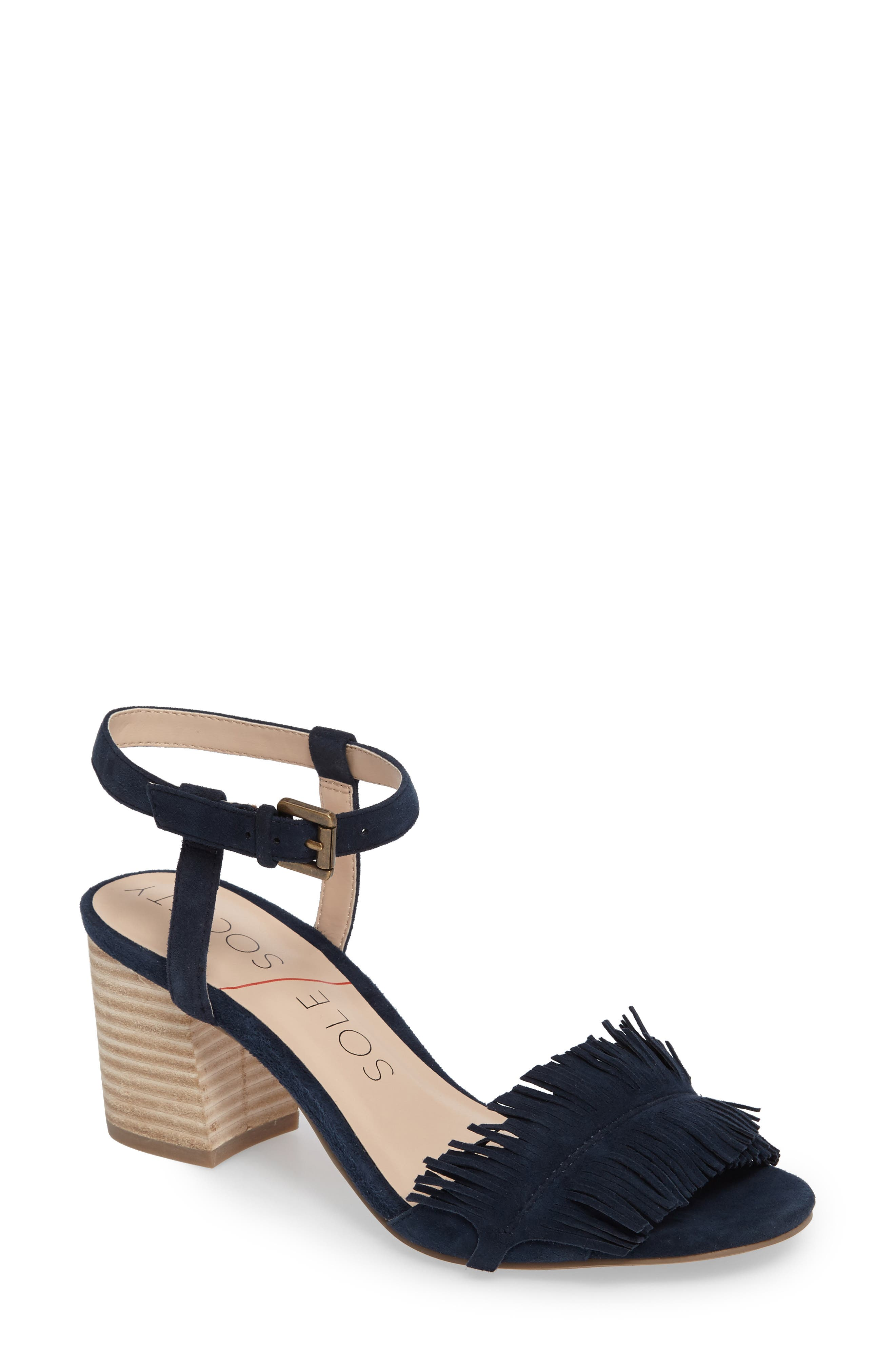 Sepia Fringe Sandal,                             Main thumbnail 1, color,                             Ink Navy Suede