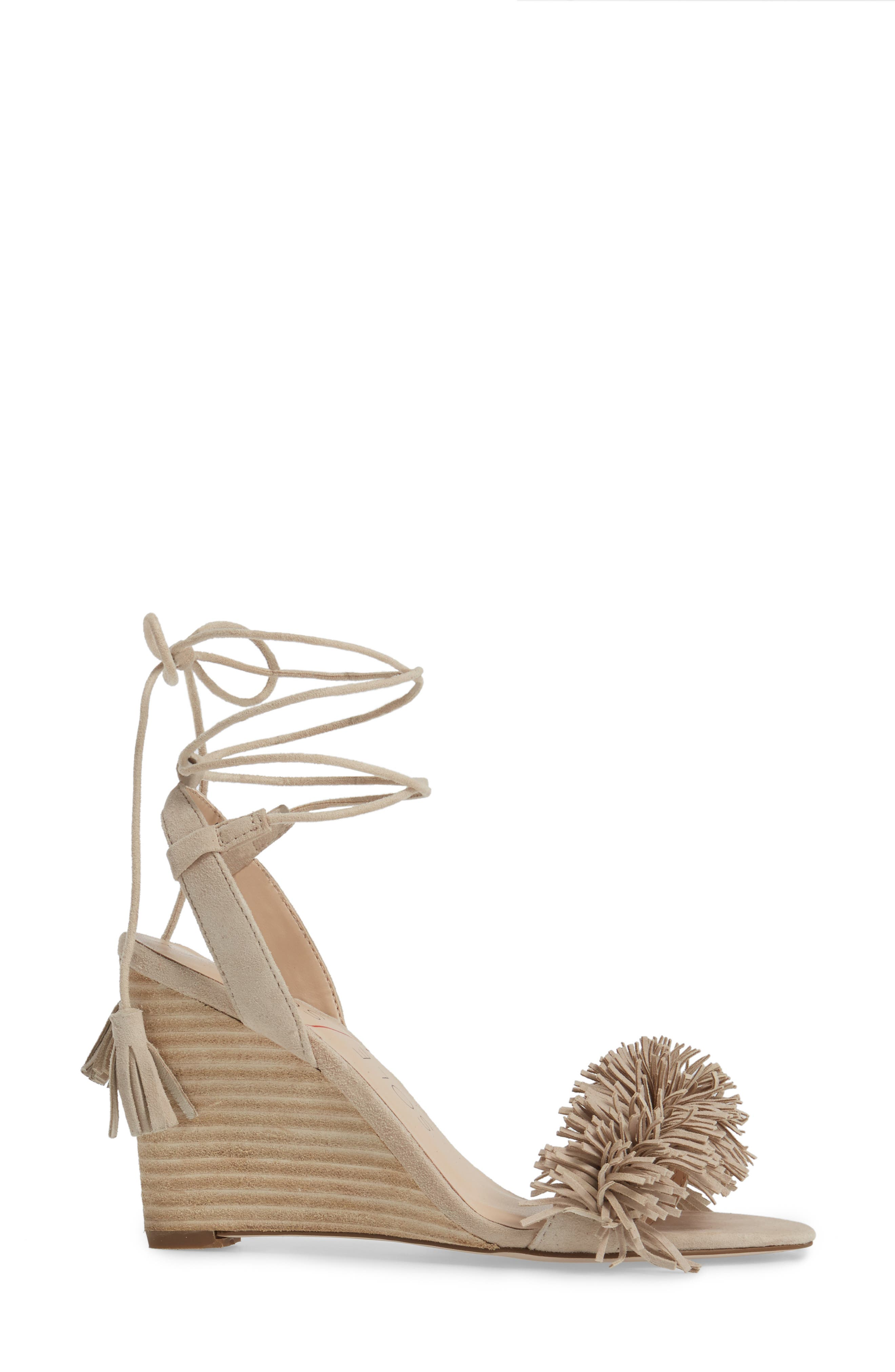 Rosea Ankle Wrap Sandal,                             Alternate thumbnail 3, color,                             French Taupe Suede