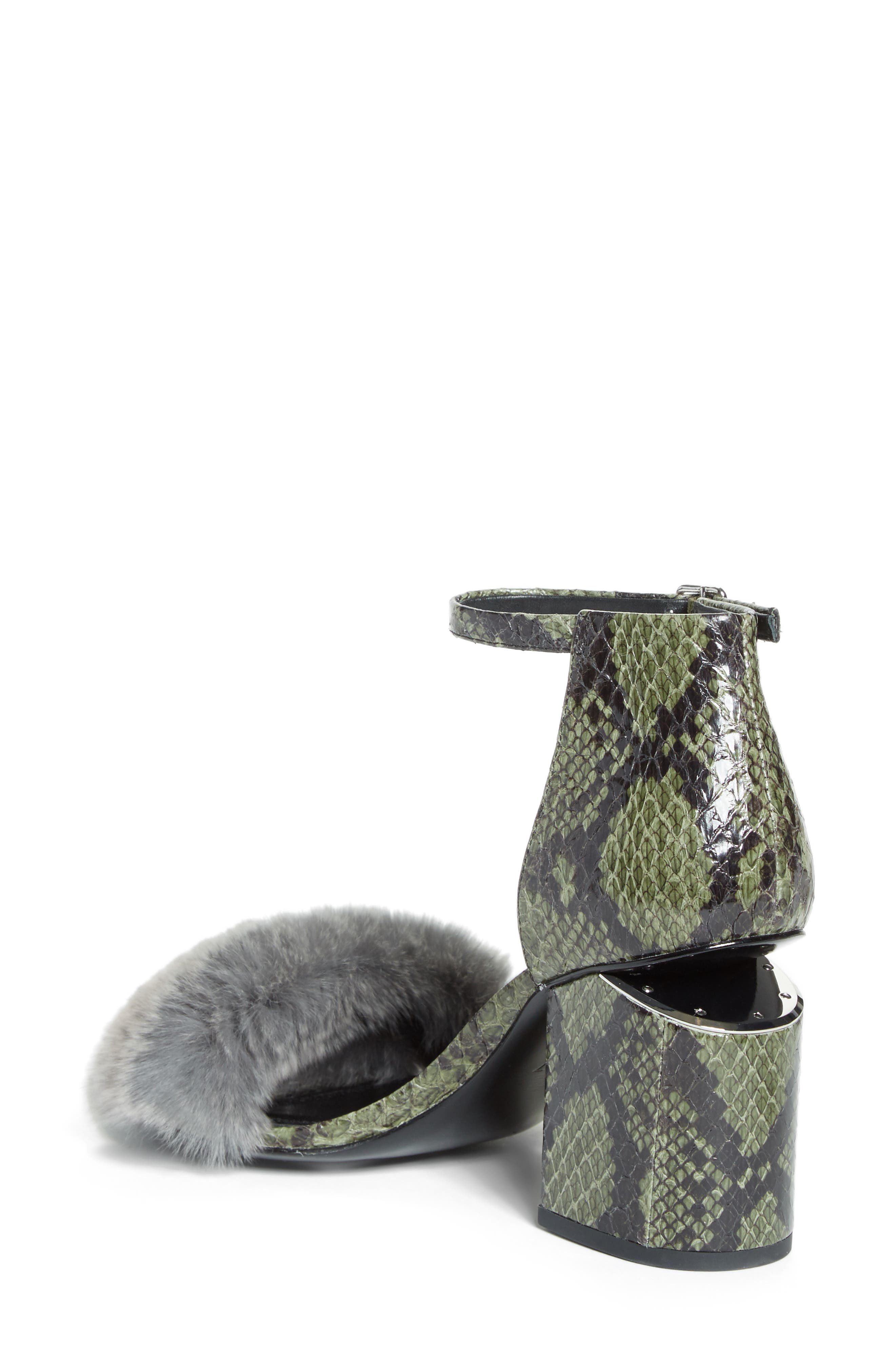 Abby Genuine Rabbit Fur & Snakeskin Sandal,                             Alternate thumbnail 2, color,                             Army