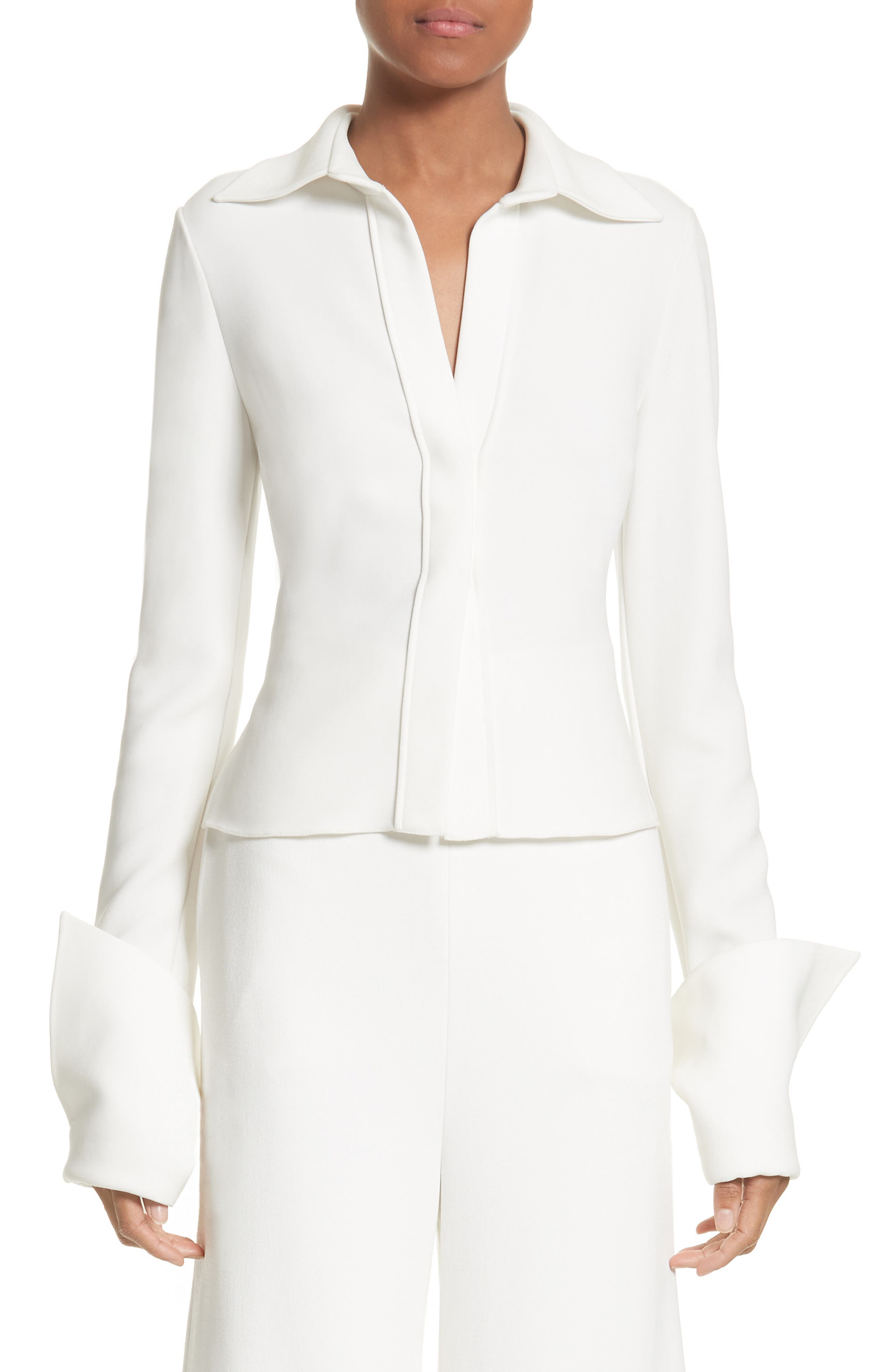 Wide Cuff Crepe Blouse,                         Main,                         color, Ivory