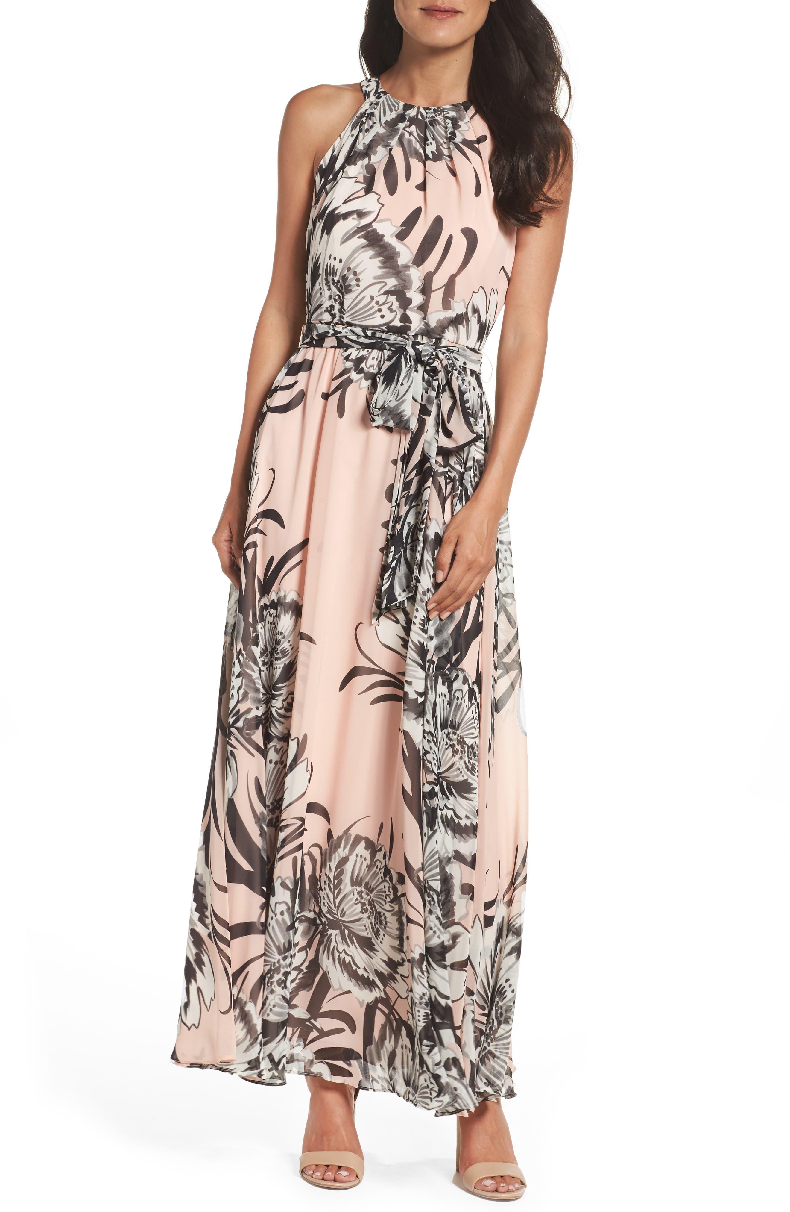 Chiffon Maxi Dress,                         Main,                         color, Blush