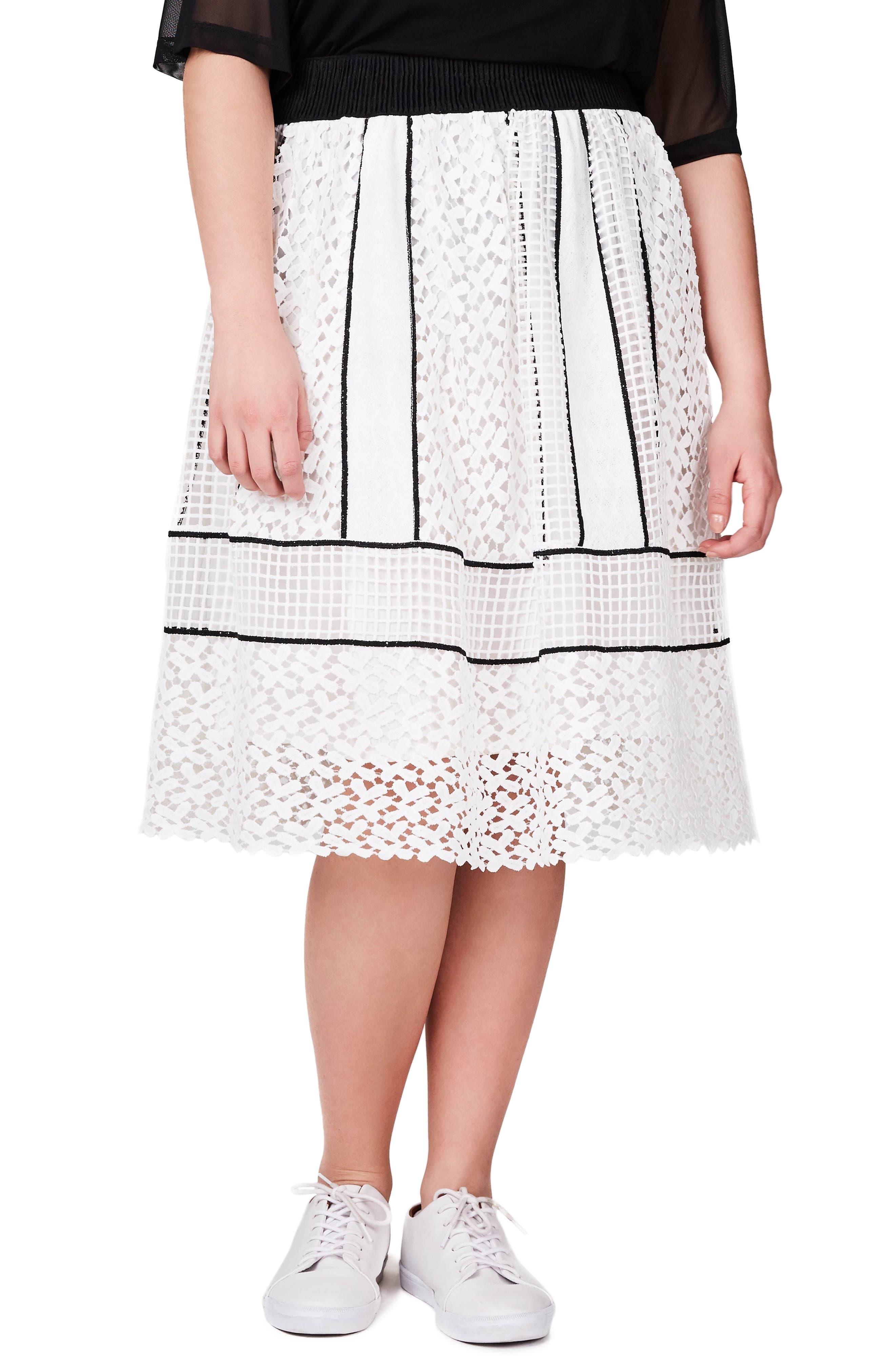 Mixed Lace Skirt,                         Main,                         color, Mono