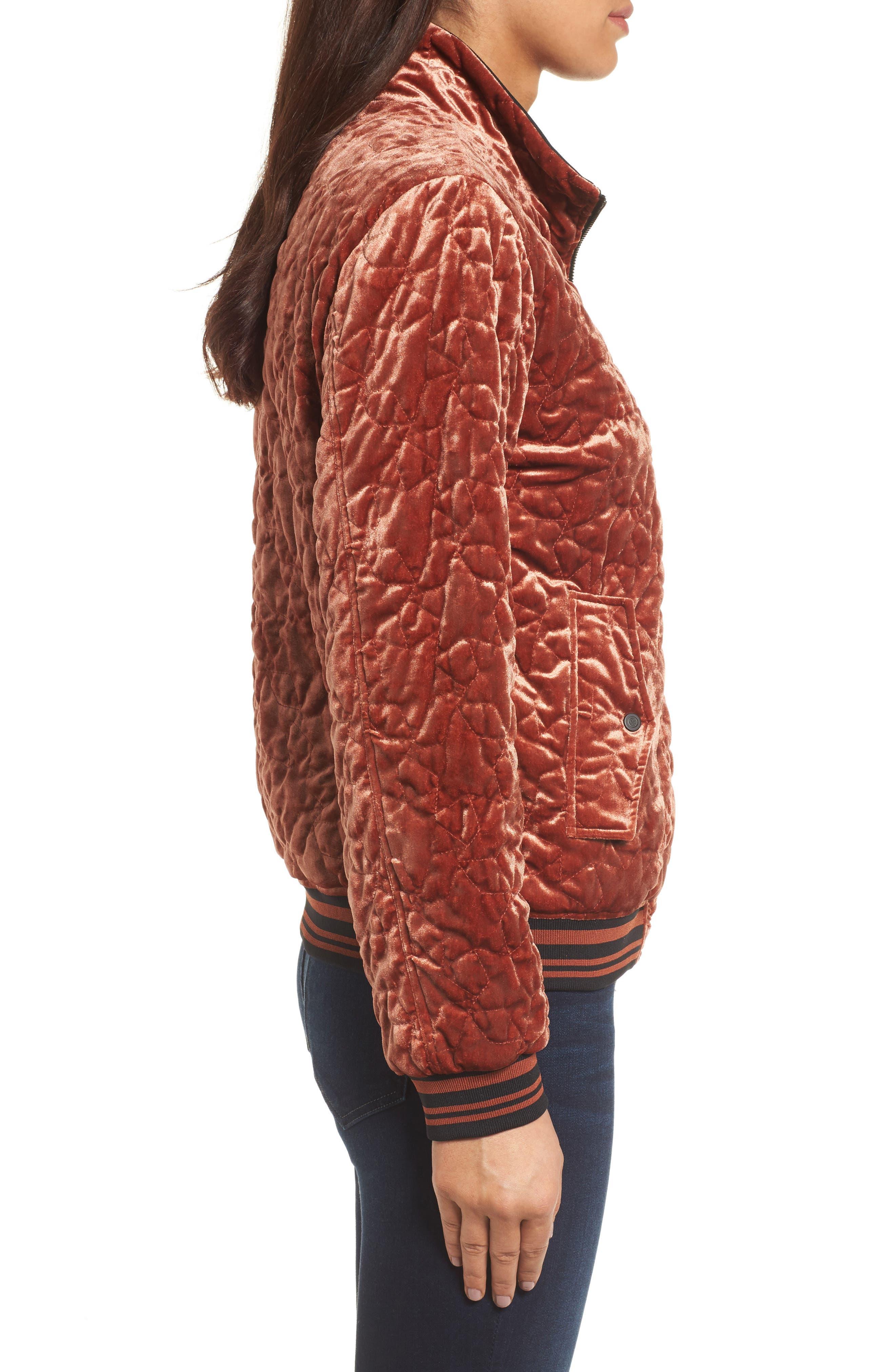 Alternate Image 4  - Bernardo Quilted Velvet Bomber Jacket (Regular & Petite)