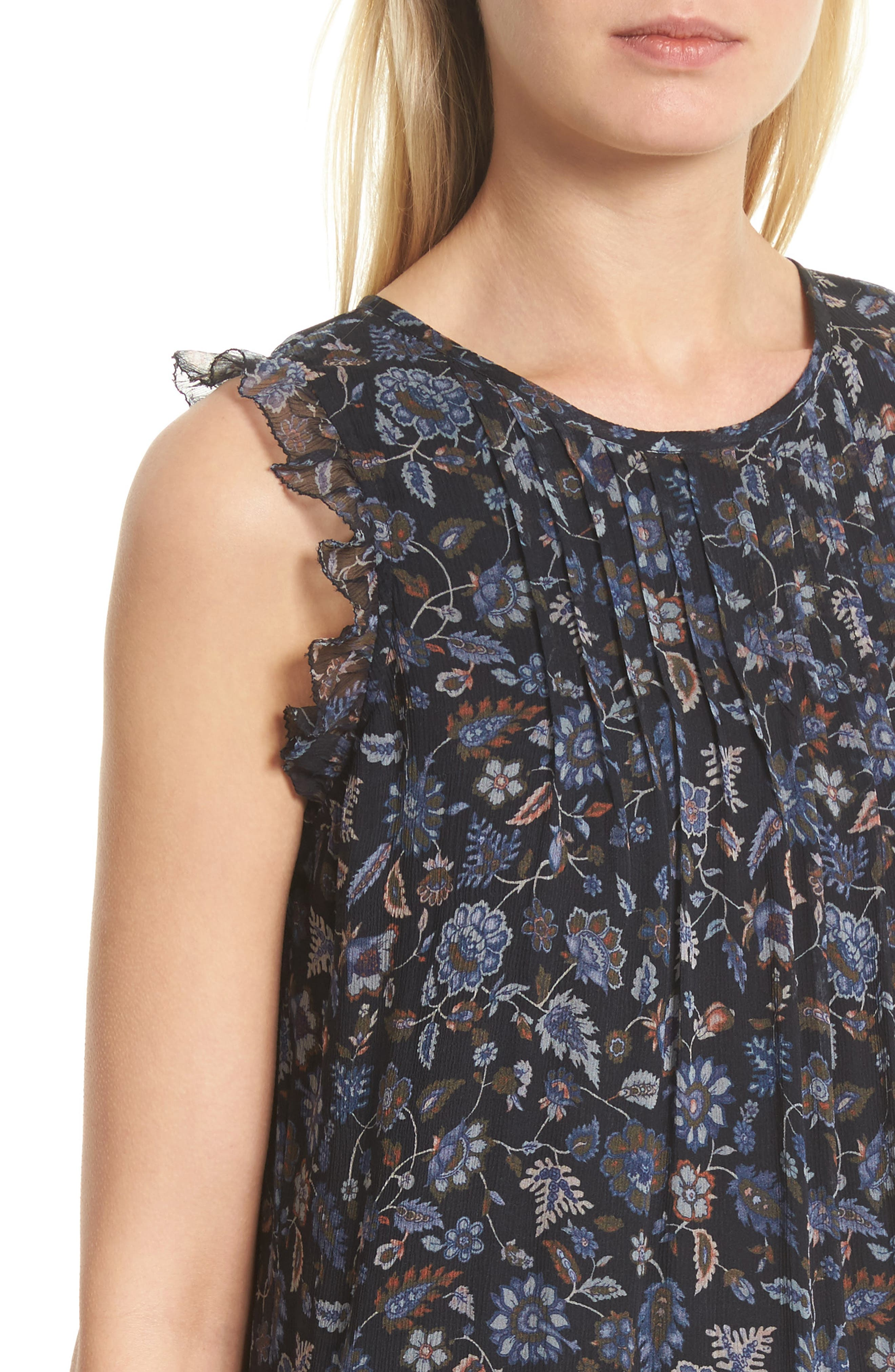 Tahoma B Print Silk Dress,                             Alternate thumbnail 4, color,                             Coralwood