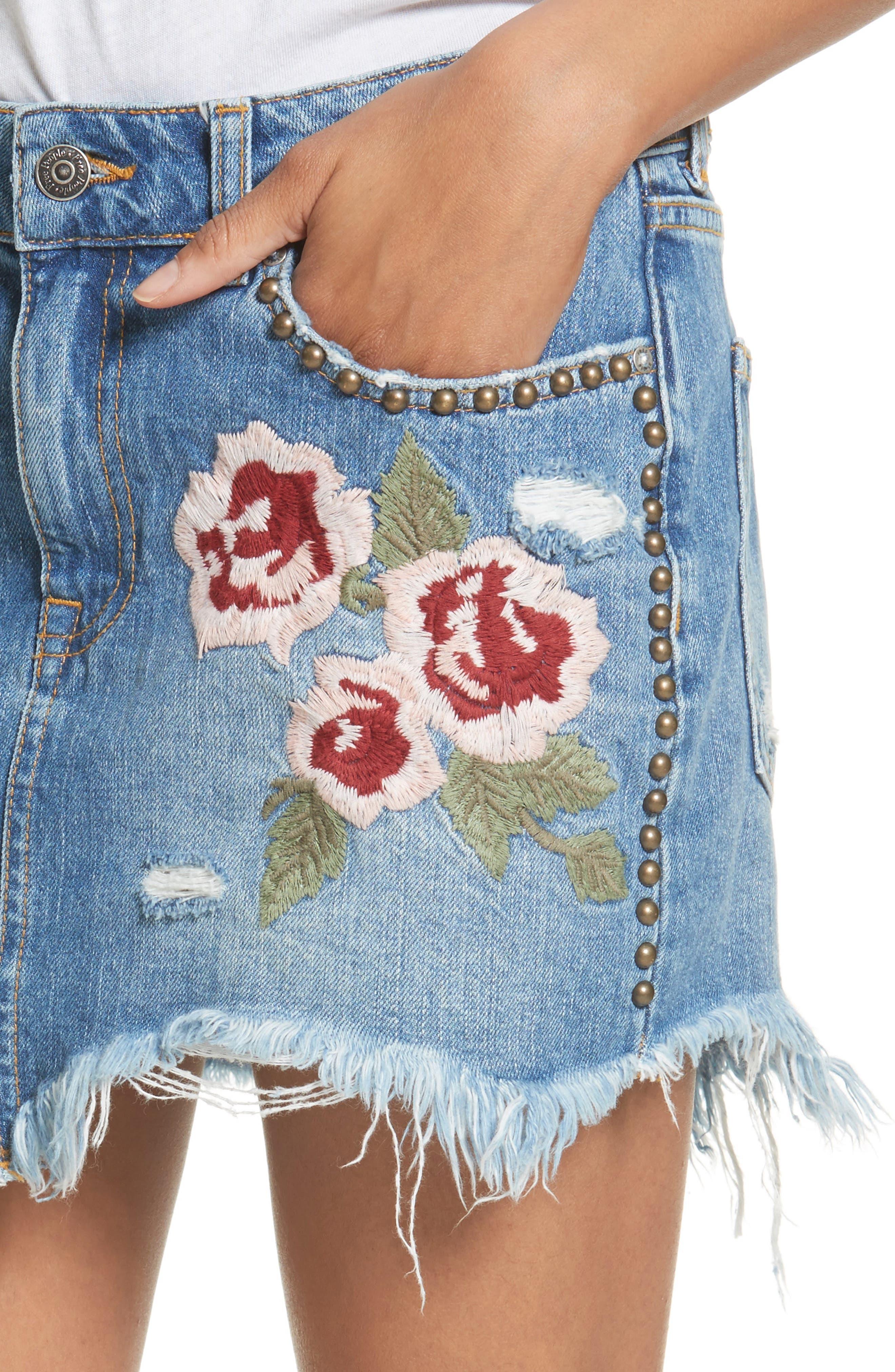 Wild Rose Embroidered Miniskirt,                             Alternate thumbnail 4, color,                             Light Denim