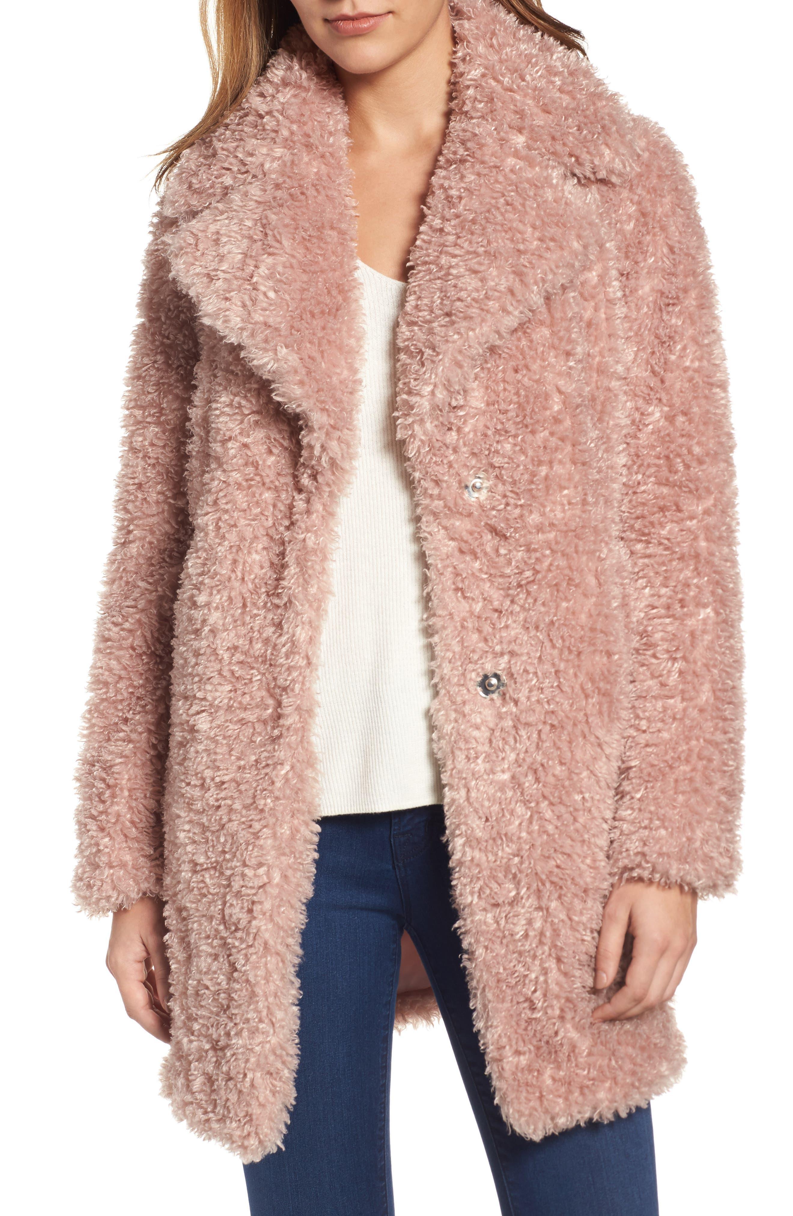 'Teddy Bear' Notch Collar Reversible Faux Fur Coat,                         Main,                         color, Blush