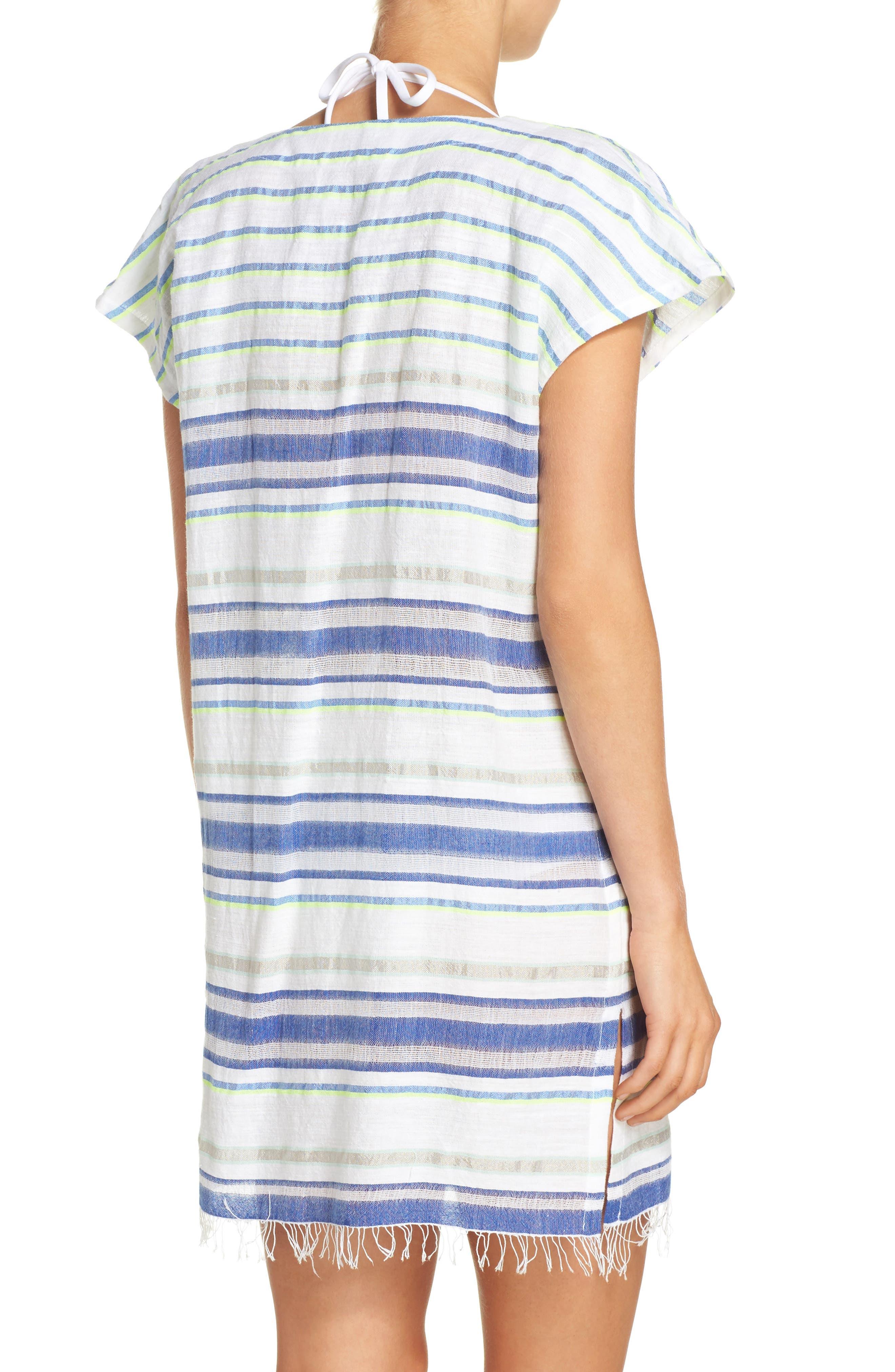 Stripe Cover-Up Tunic,                             Alternate thumbnail 2, color,                             Aqua