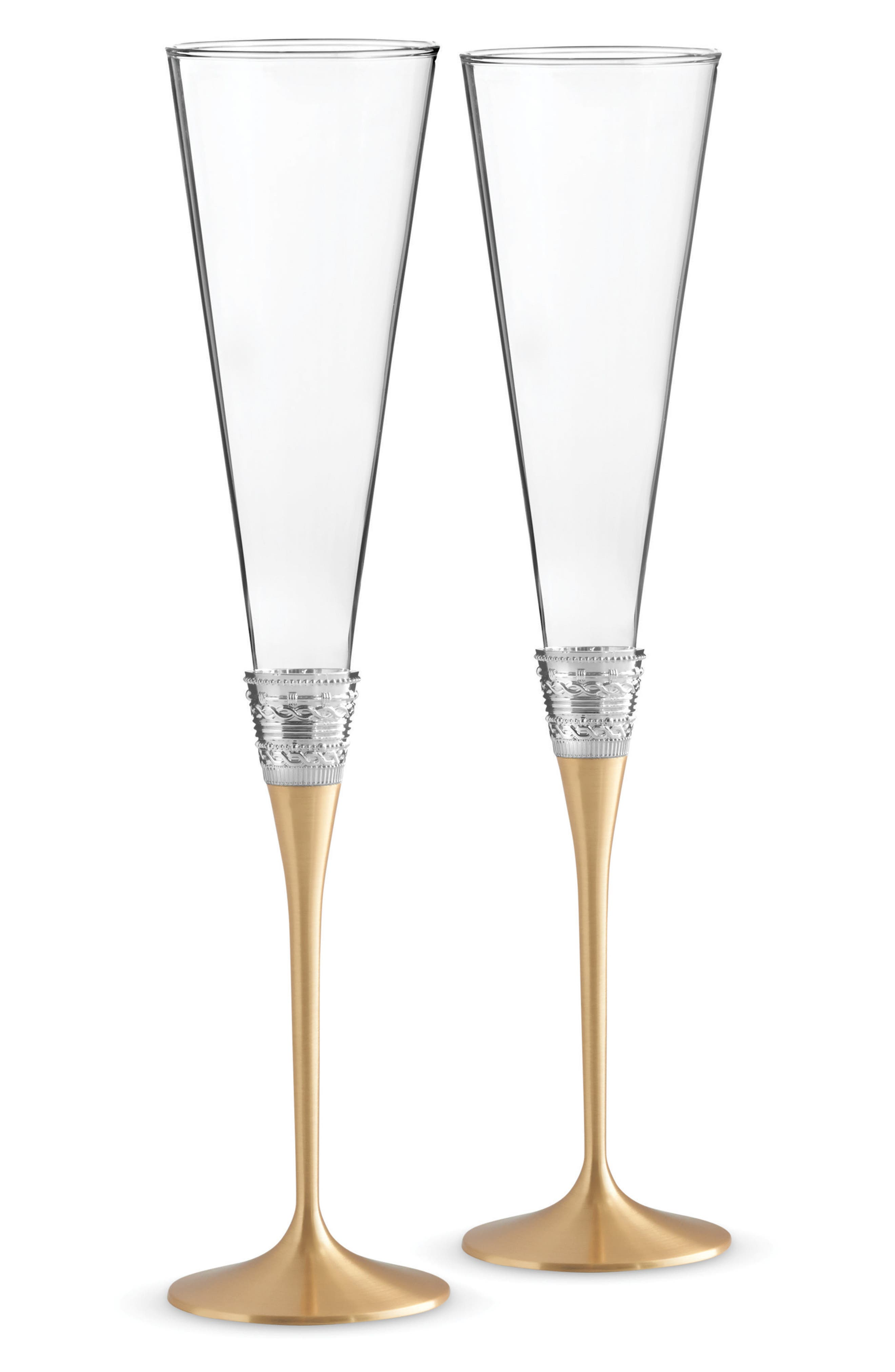 x Wedgwood With Love Collection Set of 2 Toasting Flutes,                             Main thumbnail 1, color,                             Metallic Silver