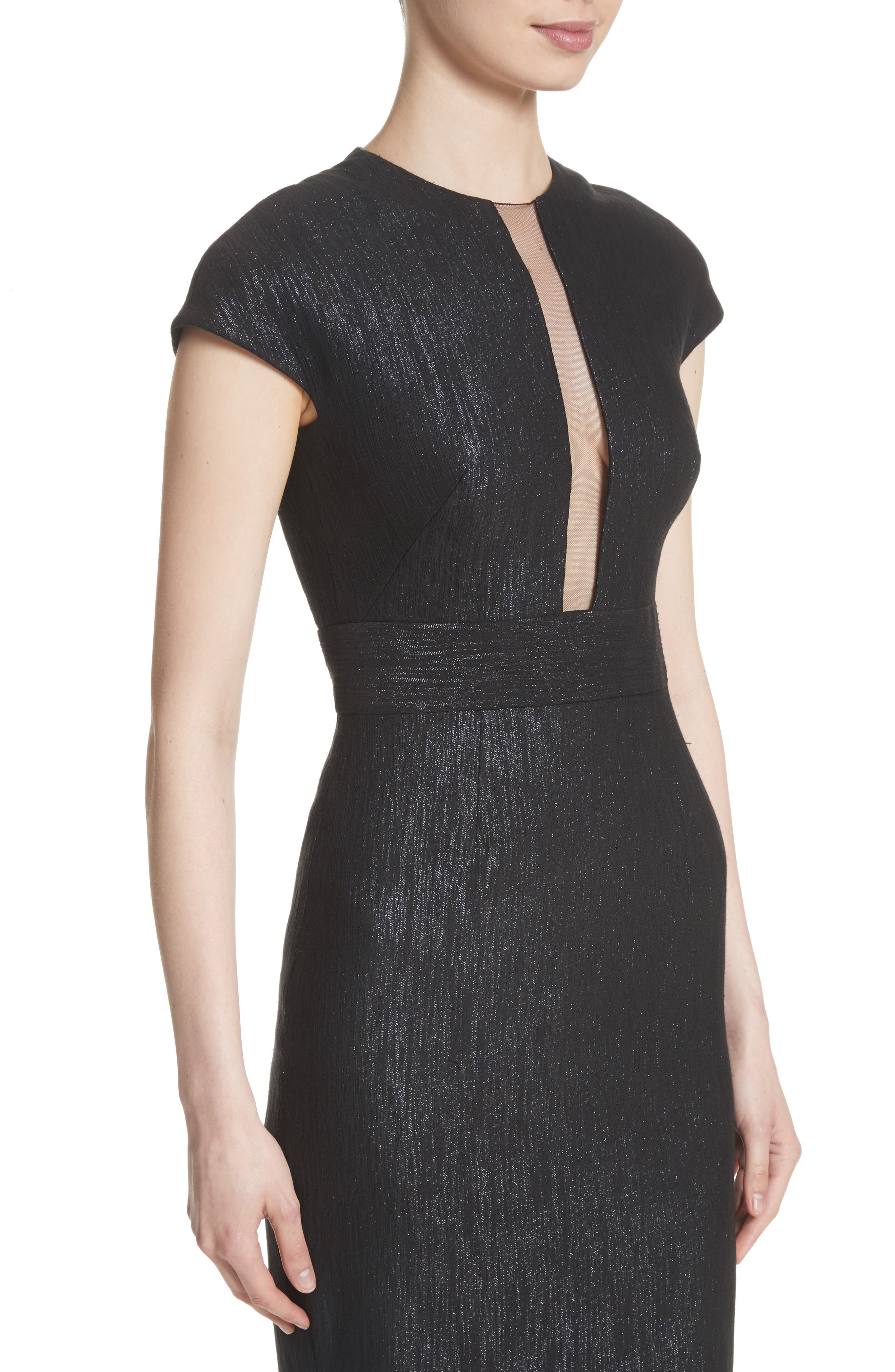 Alternate Image 4  - Lela Rose Shimmer Jacquard Sheath Dress