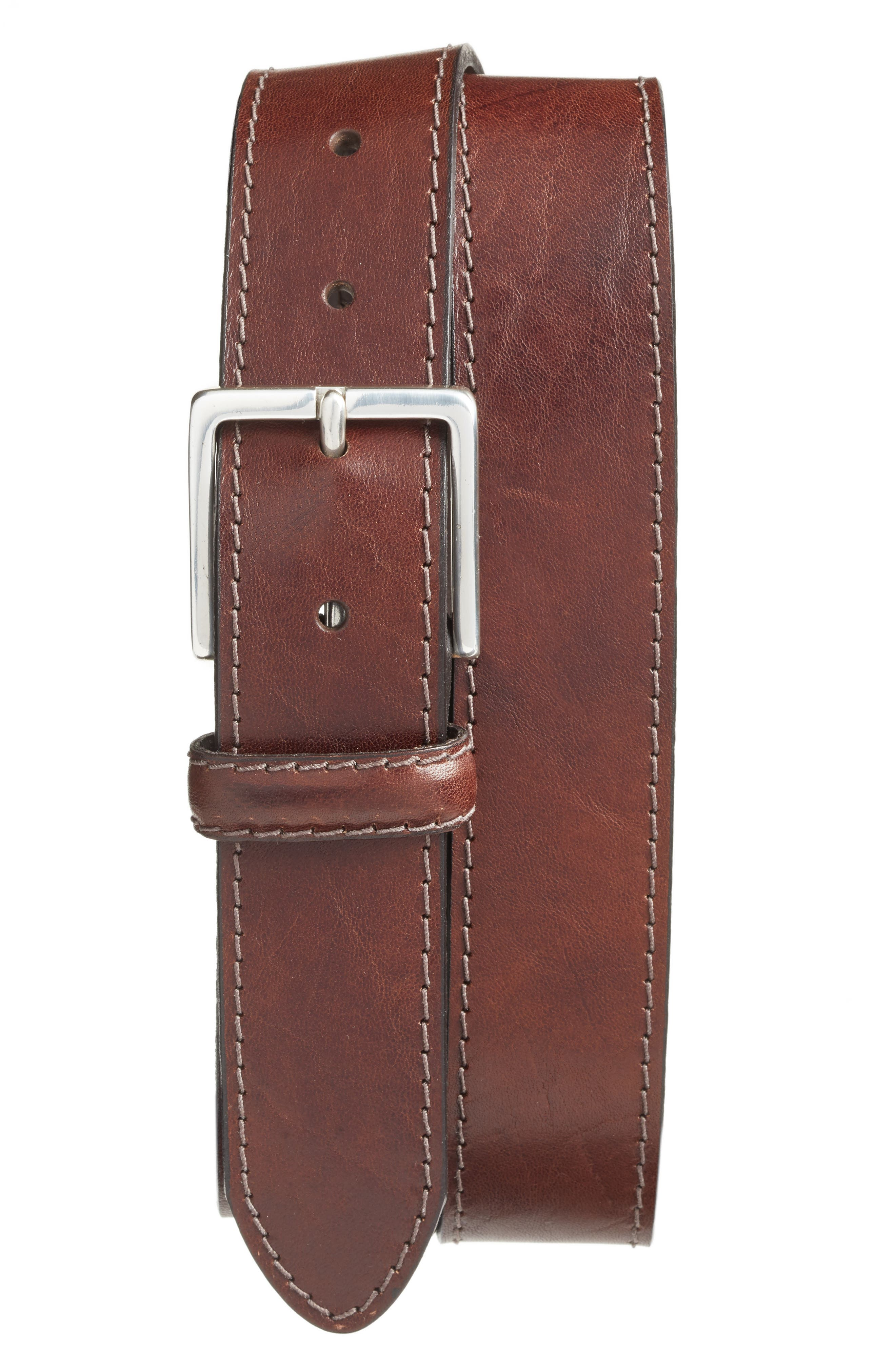 The Franco Leather Belt,                             Main thumbnail 1, color,                             Dark Brown