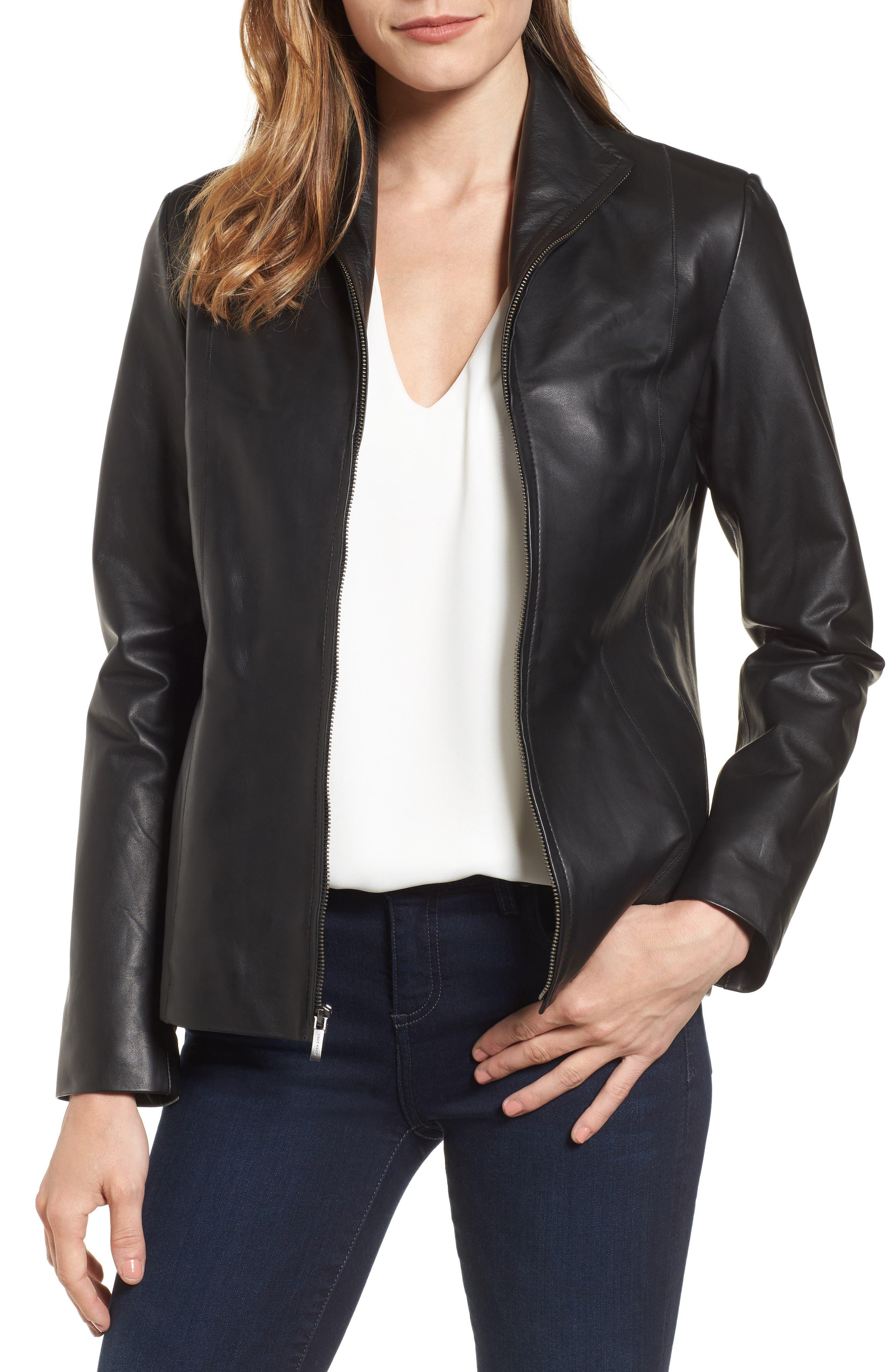 Lambskin Leather Scuba Jacket,                             Main thumbnail 1, color,                             Black