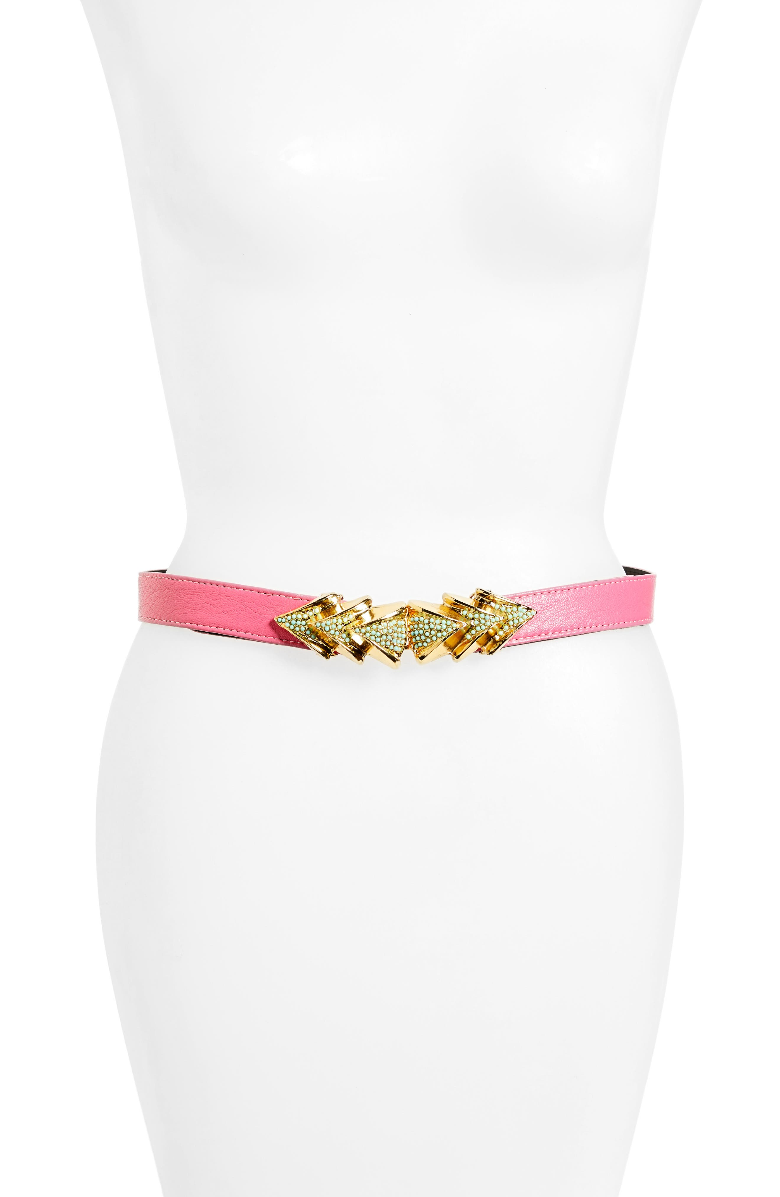 Venice Leather Belt,                         Main,                         color, Pink