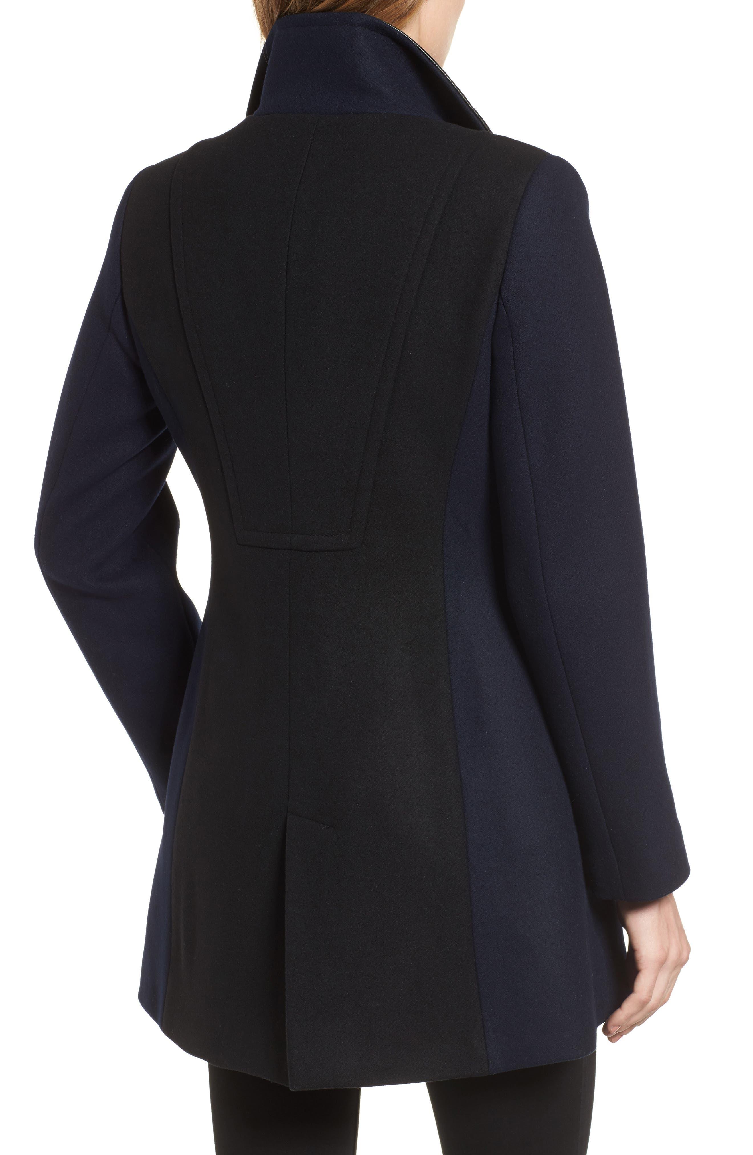 Eleanor Leather Trim Wool Blend Coat,                             Alternate thumbnail 2, color,                             Black/ Navy
