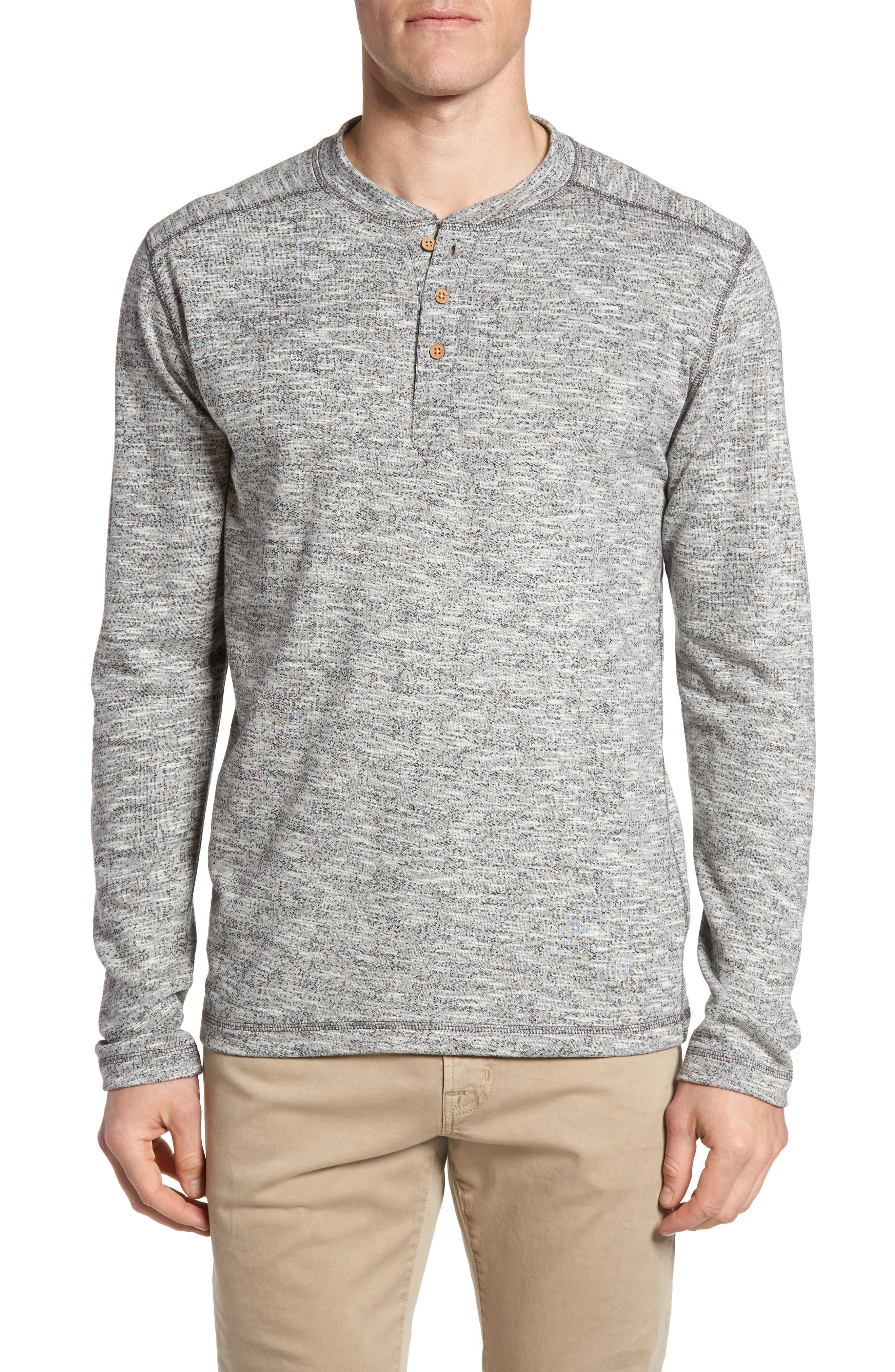 Heathered French Terry Henley,                         Main,                         color, Light Grey
