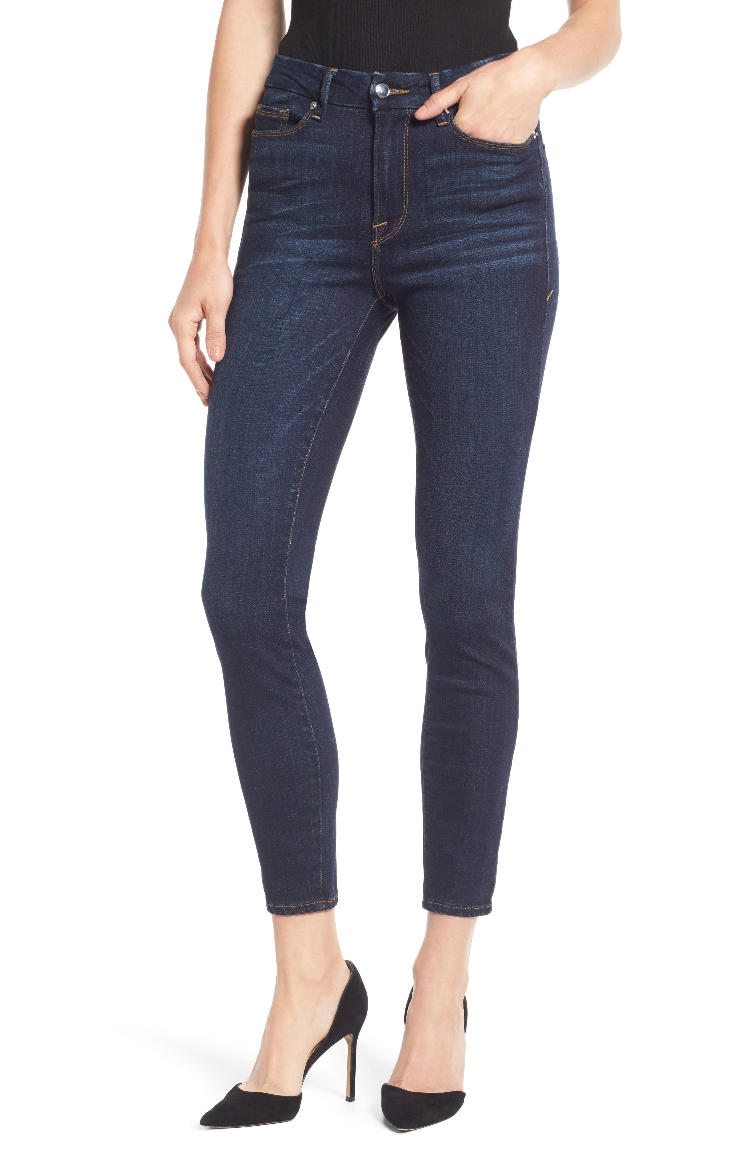 Good American Good Legs High Waist Ankle Skinny Jeans (Blue 085) (Extended Sizes)