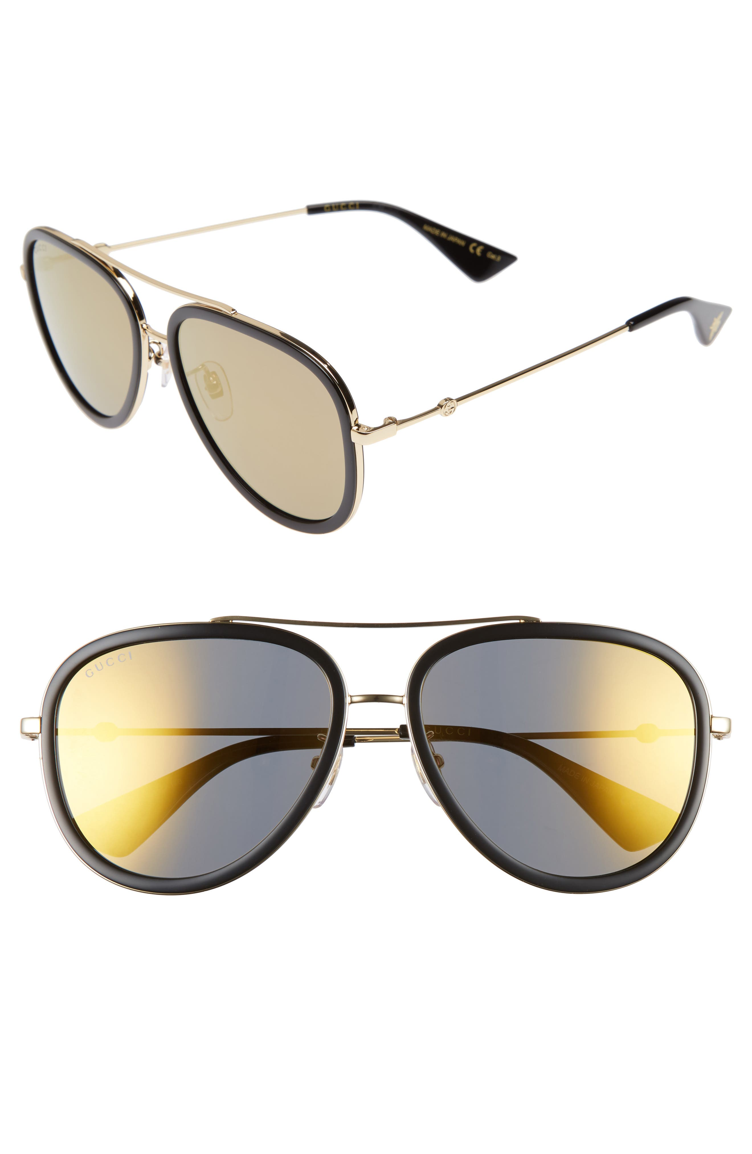 Alternate Image 1 Selected - Gucci 57mm Aivator Sunglasses