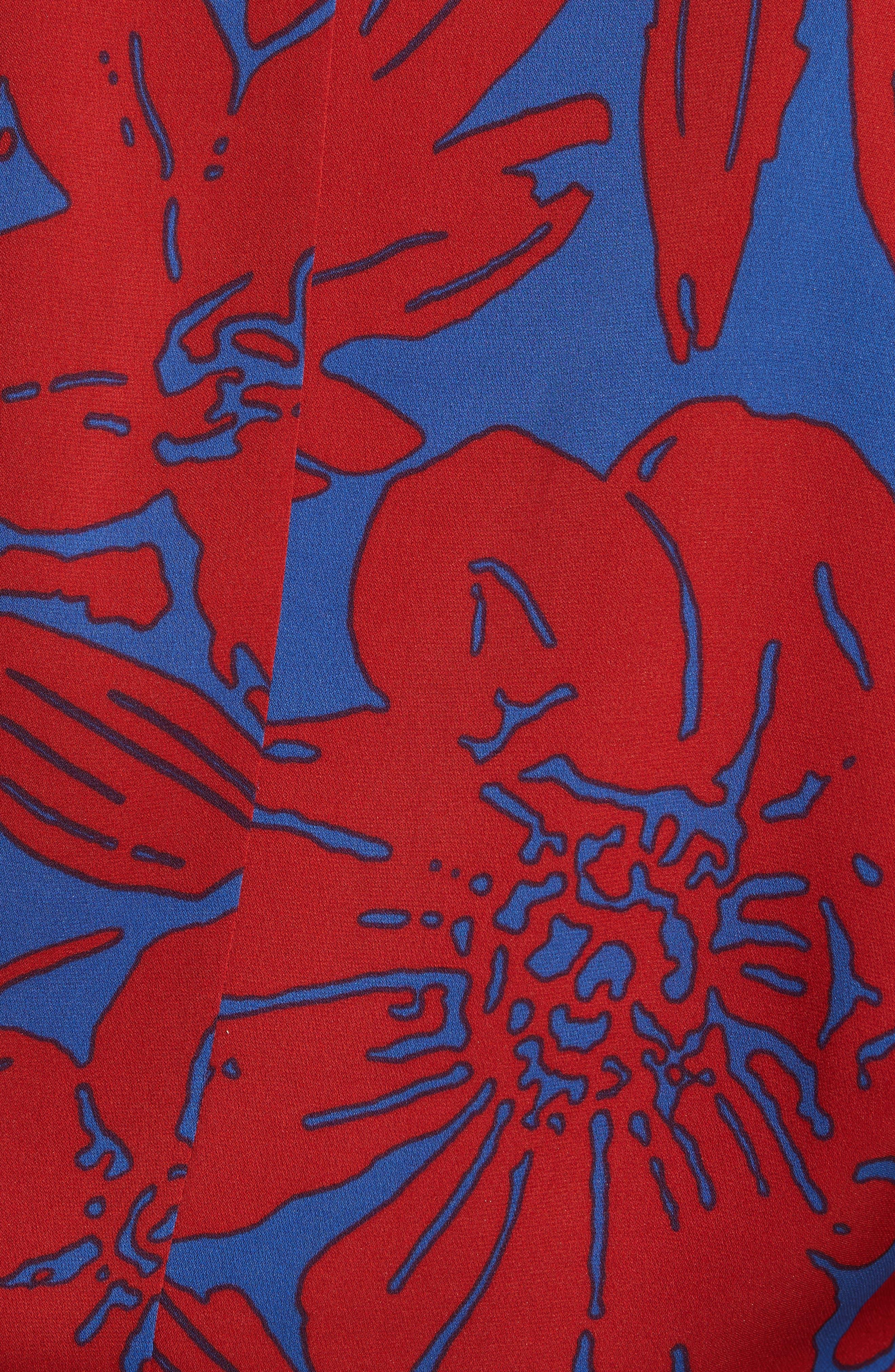 Floral Silk Wrap Blouse,                             Alternate thumbnail 5, color,                             Leclaire Rust