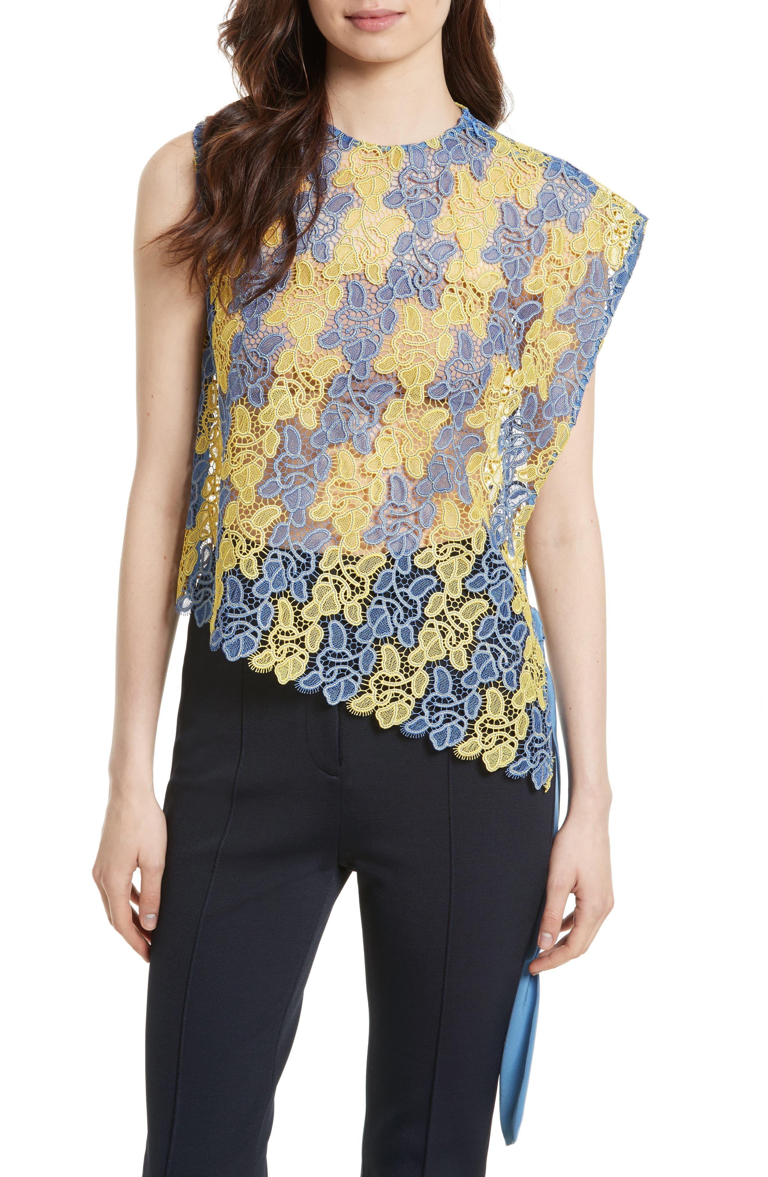 Asymmetric Lace Top,                         Main,                         color, Denim/ Lemon