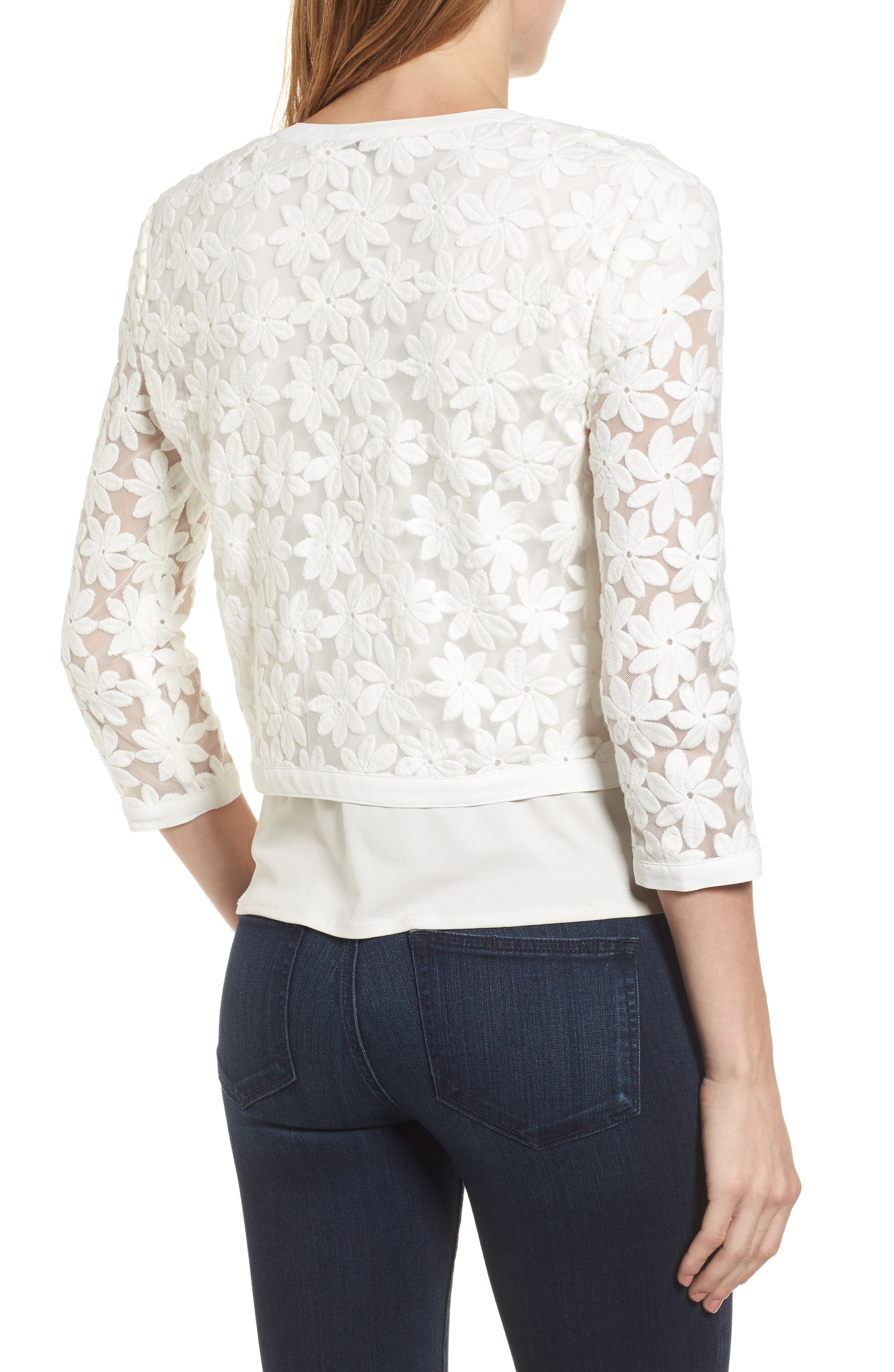 Alternate Image 2  - Anne Klein Floral Embroidered Mesh Cardigan