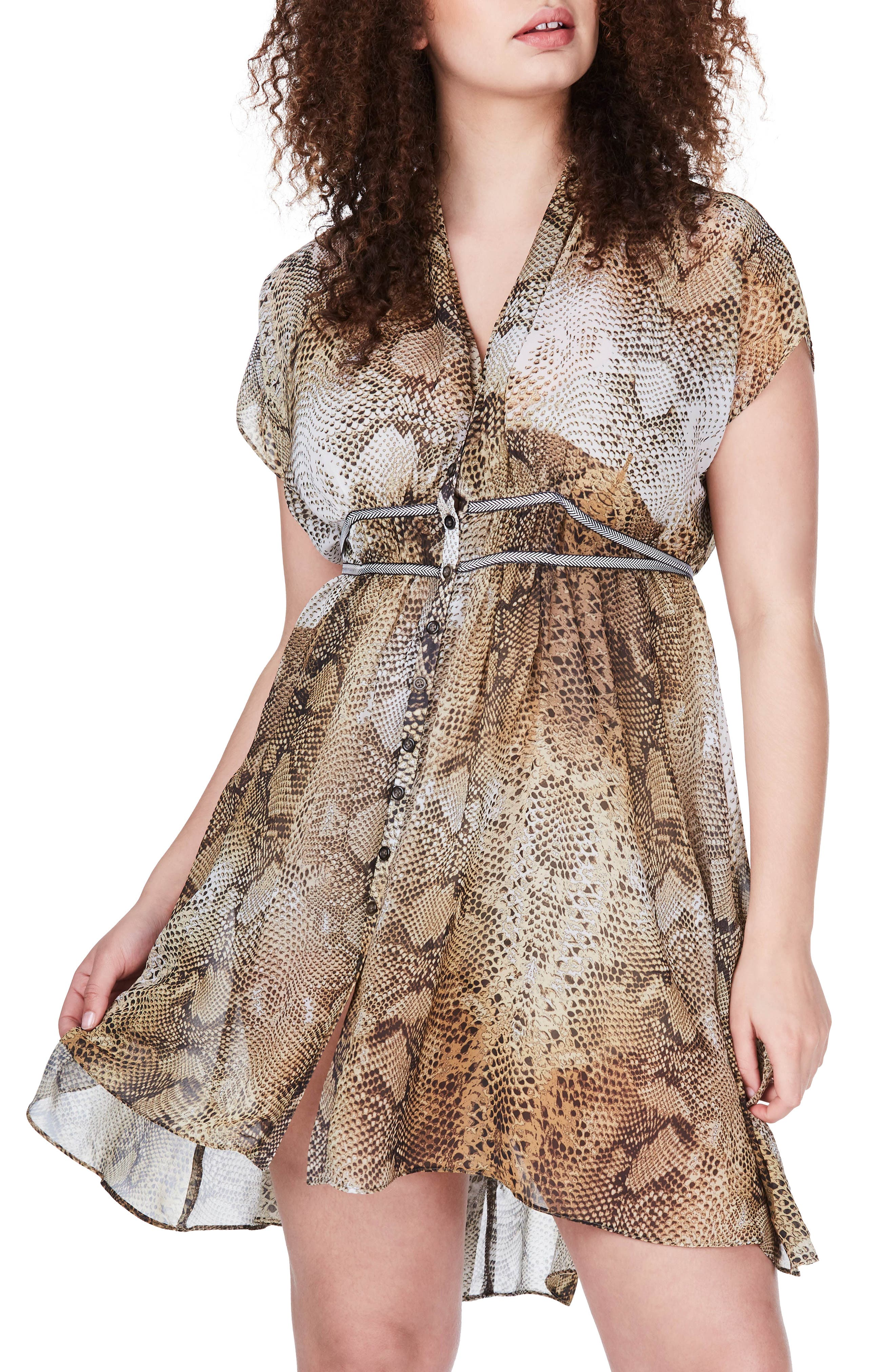 Snakeskin Print Fit & Flare Dress,                         Main,                         color, Yellow