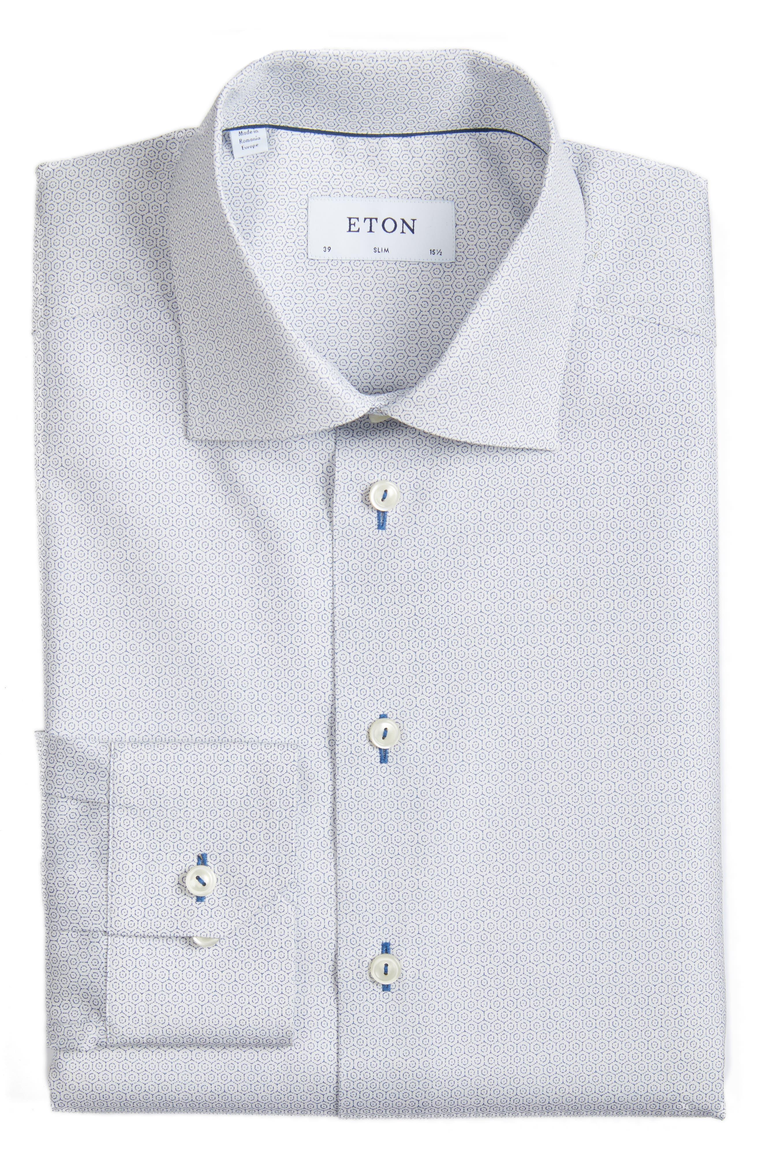 Eton Slim Fit Pattern Dress Shirt