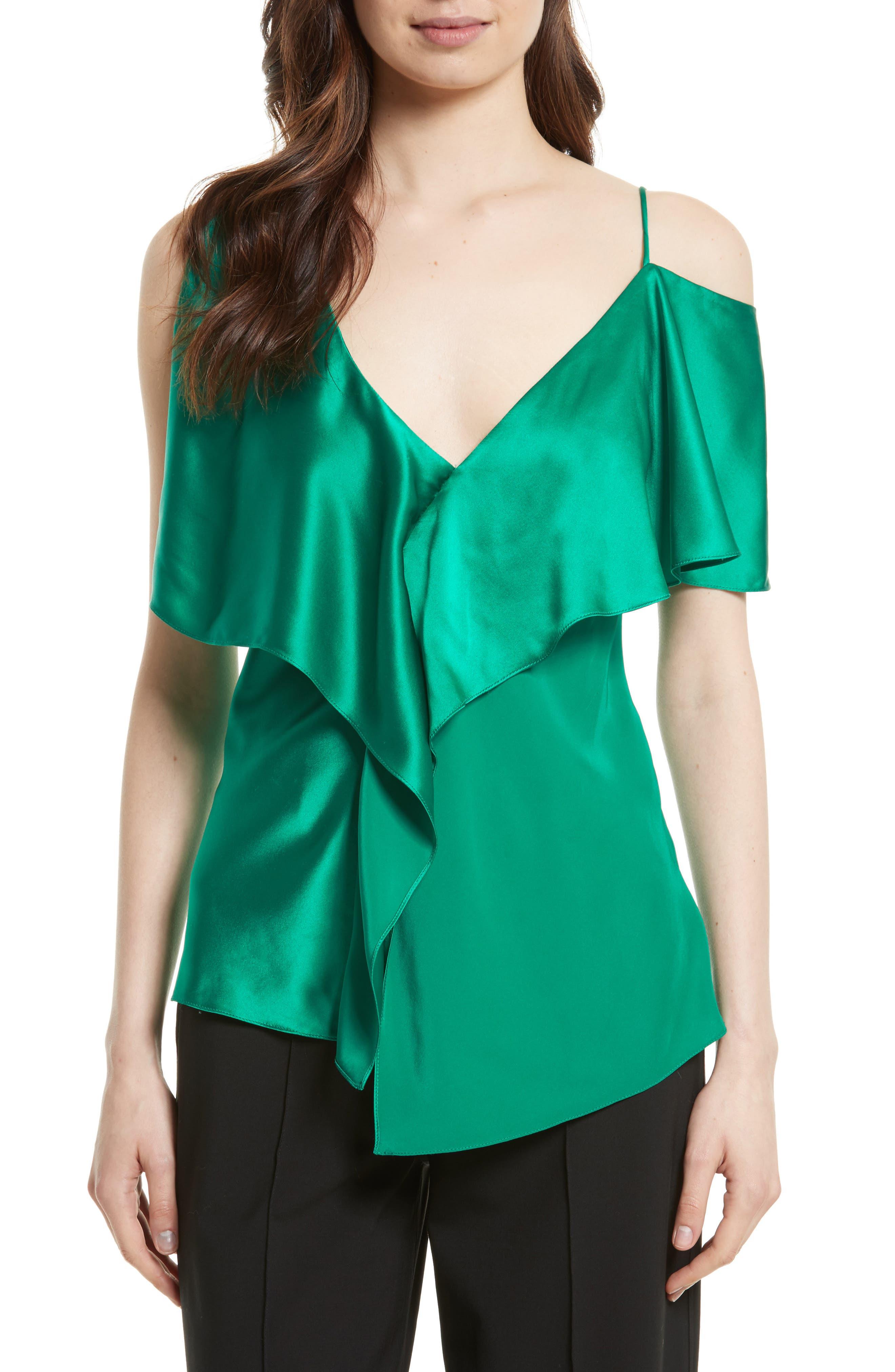 Asymmetrical Sleeve Ruffle Blouse,                         Main,                         color, Evergreen