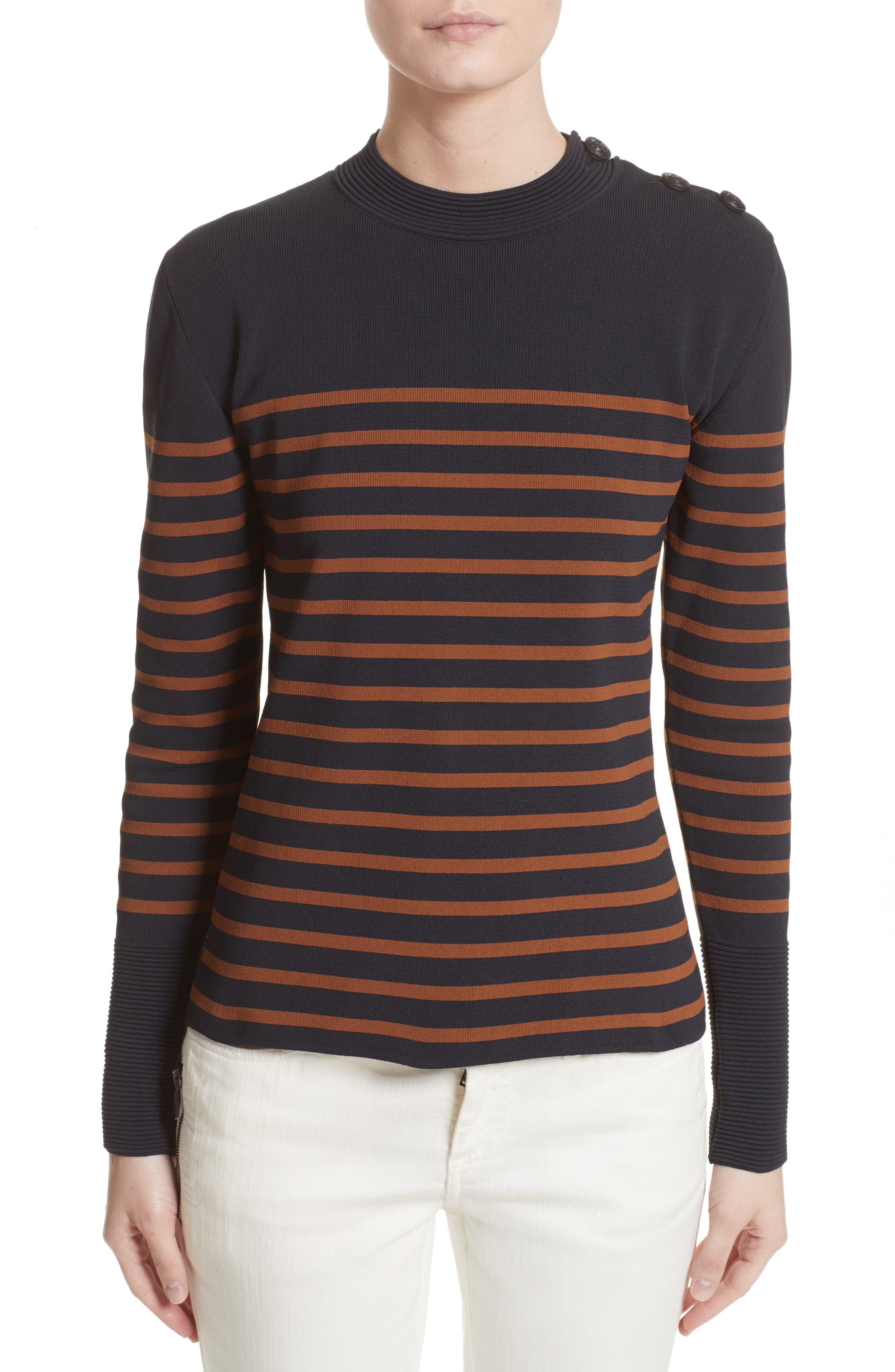 Selicia Stripe Sweater,                             Main thumbnail 1, color,                             Black