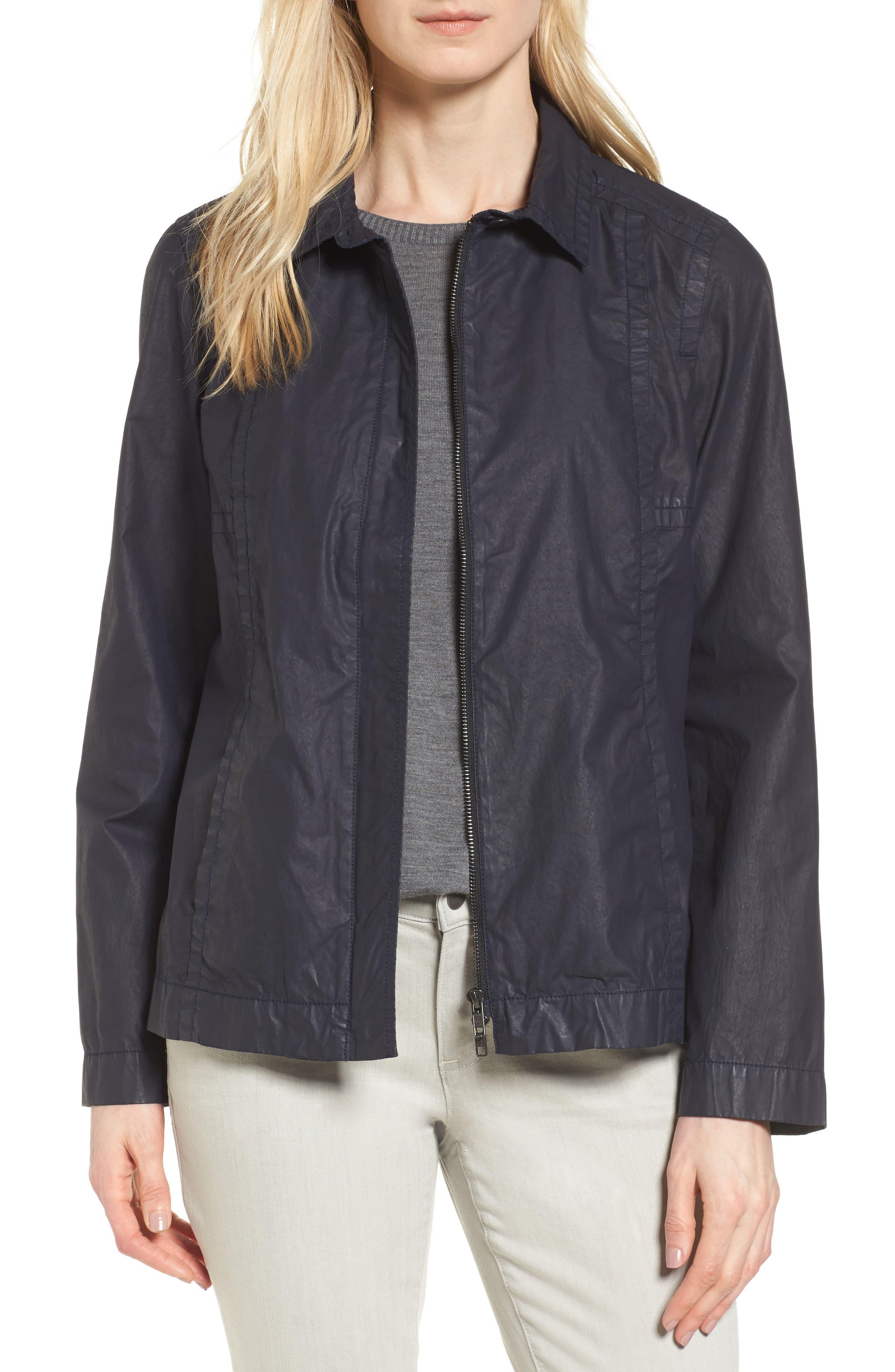 Eileen Fisher Waxed Cotton Swing Jacket (Regular & Petite)