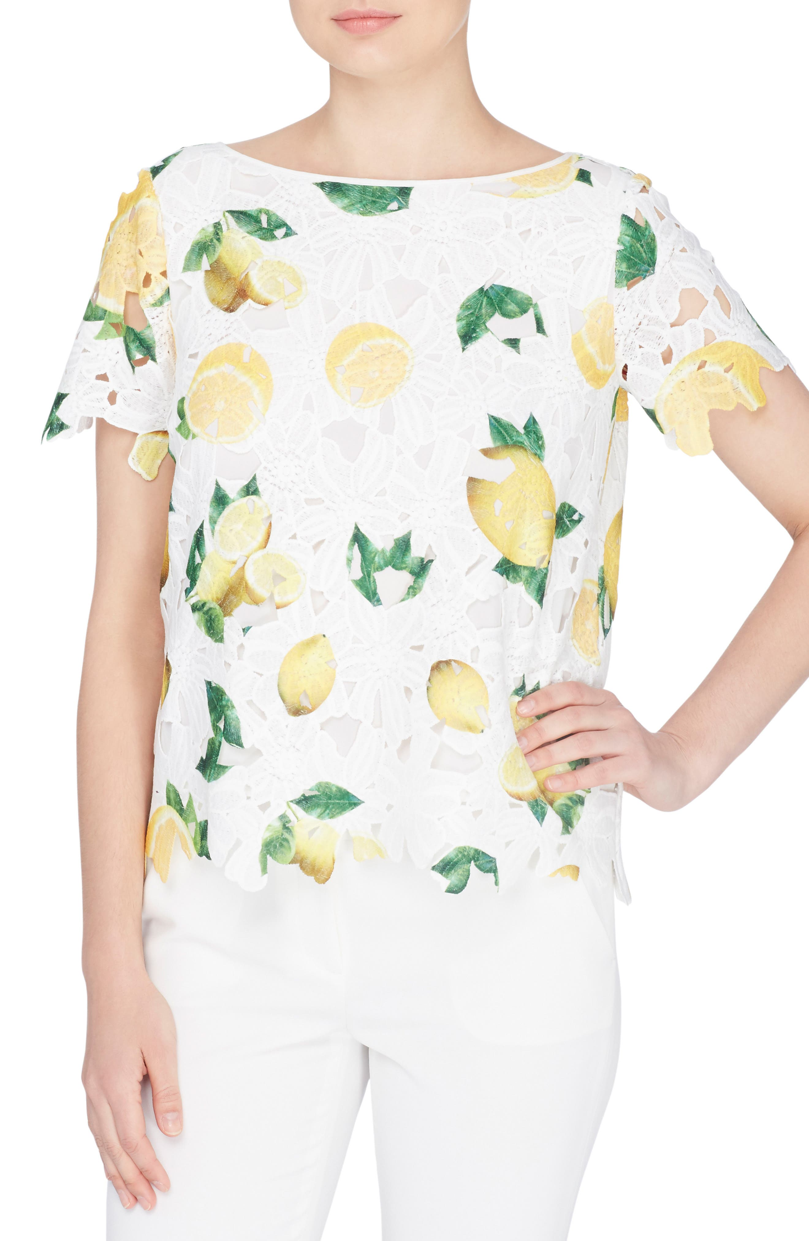 Charm Print Lace Top,                         Main,                         color, Lemon Drop