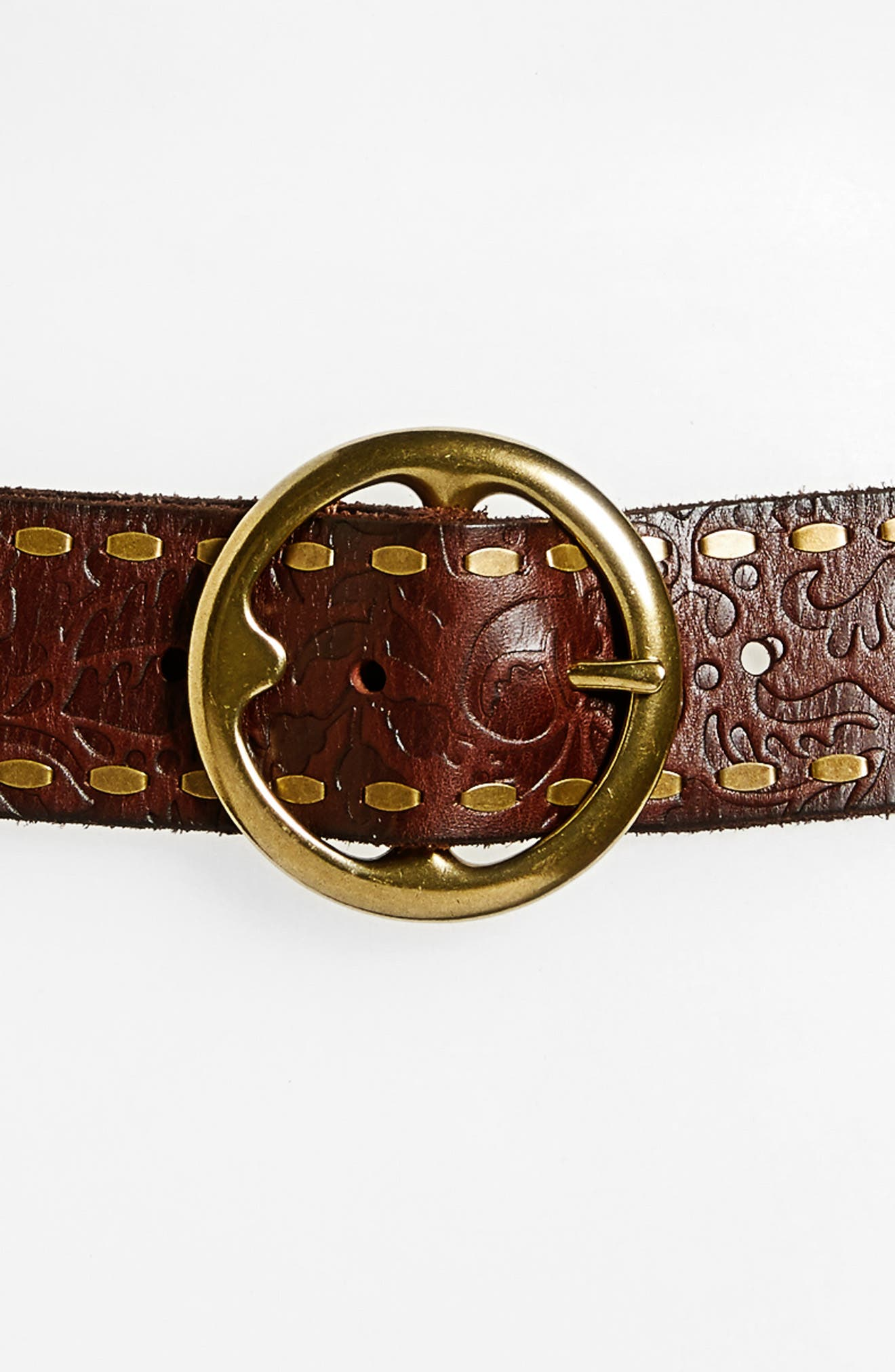 Embossed Leather Belt,                             Alternate thumbnail 3, color,                             Cognac