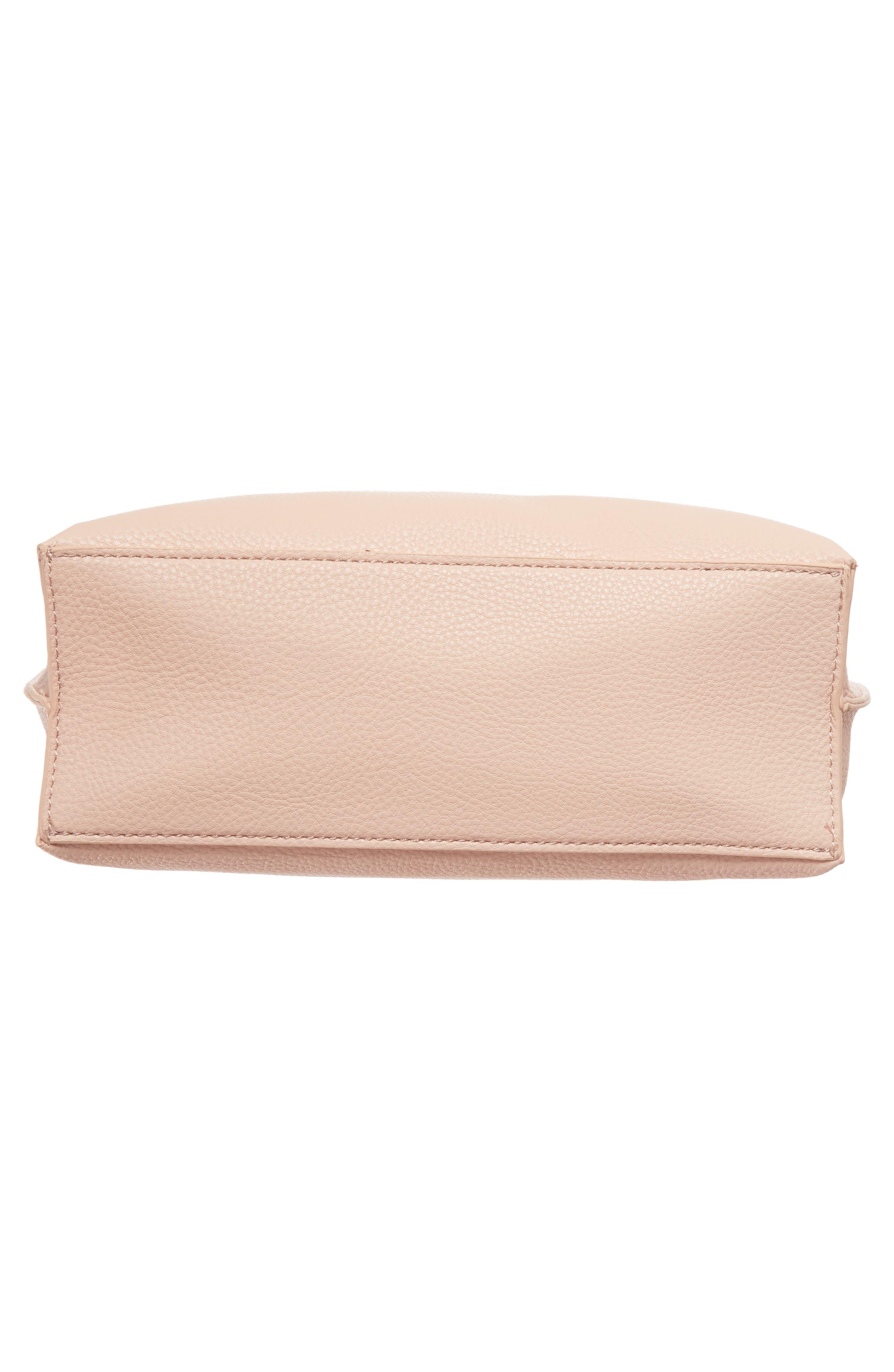 Metal Handle Faux Leather Crossbody Bag,                             Alternate thumbnail 6, color,                             Blush