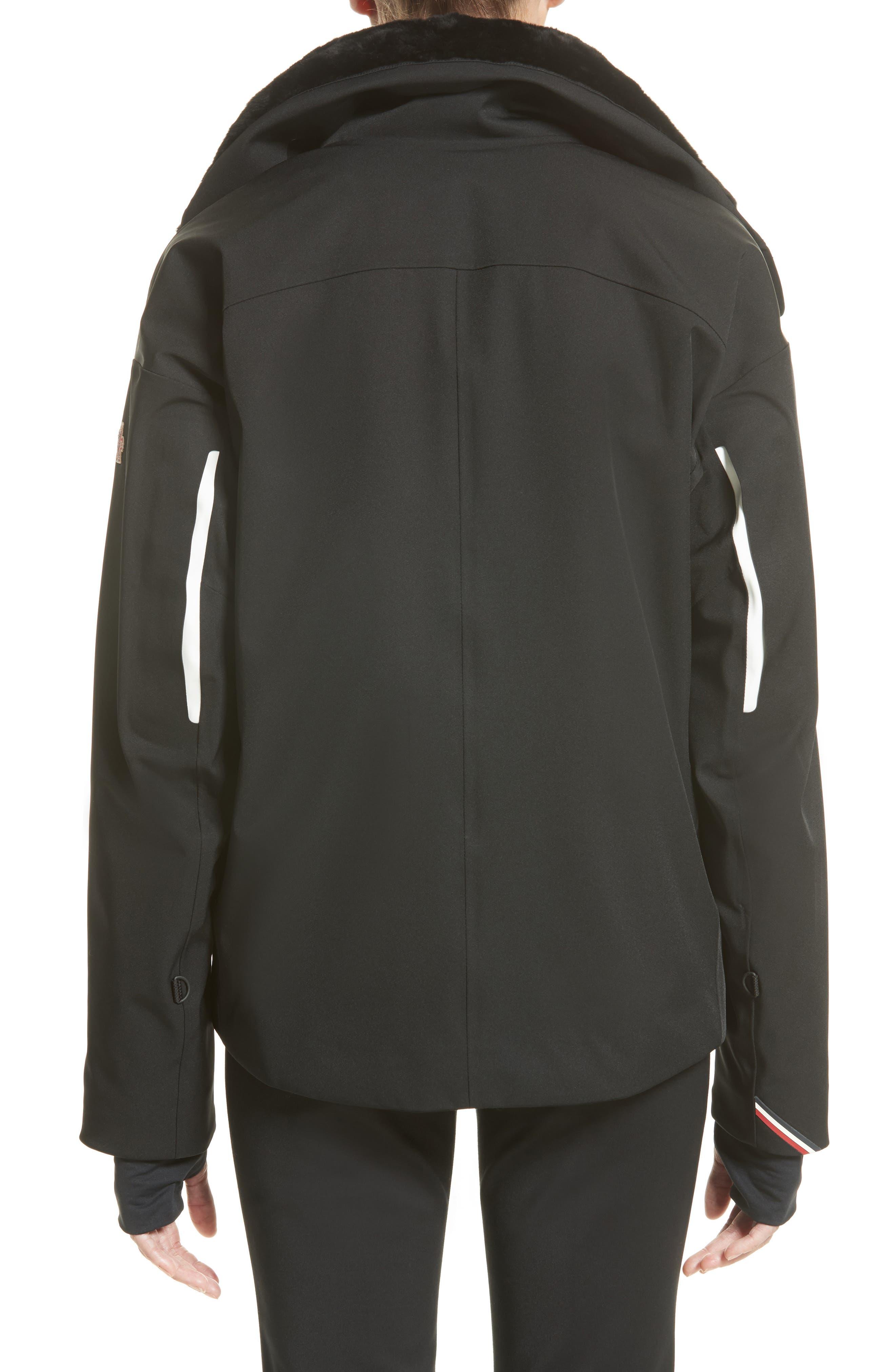 Troisvallees Jacket with Genuine Nutria Fur Collar,                             Alternate thumbnail 2, color,                             Black/ White