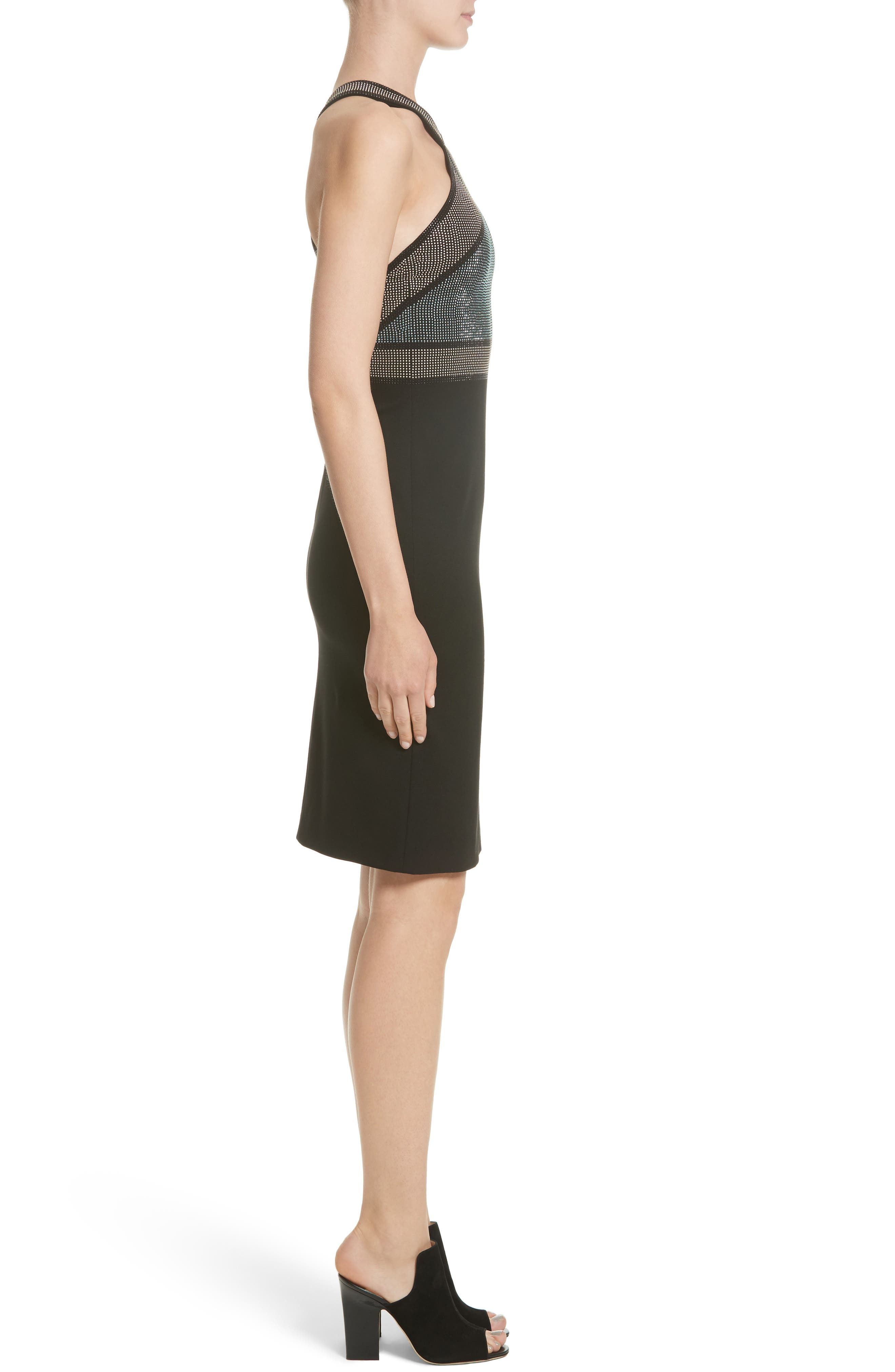 Rhinestone Halter Dress,                             Alternate thumbnail 3, color,                             Nero/ Rosa/ Oro