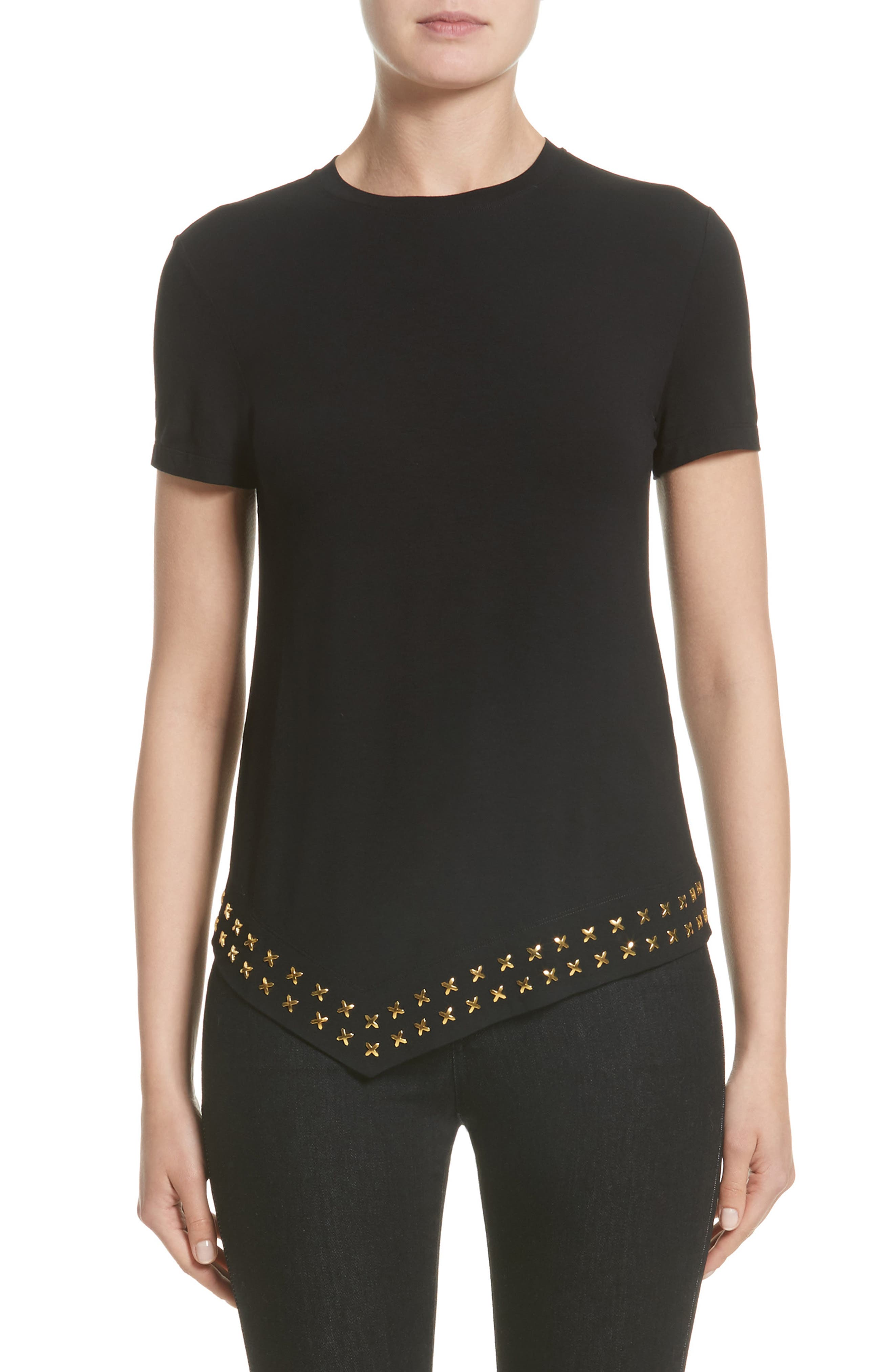 Main Image - Versace Collection Hardware Embellished Jersey Asymmetrical Top