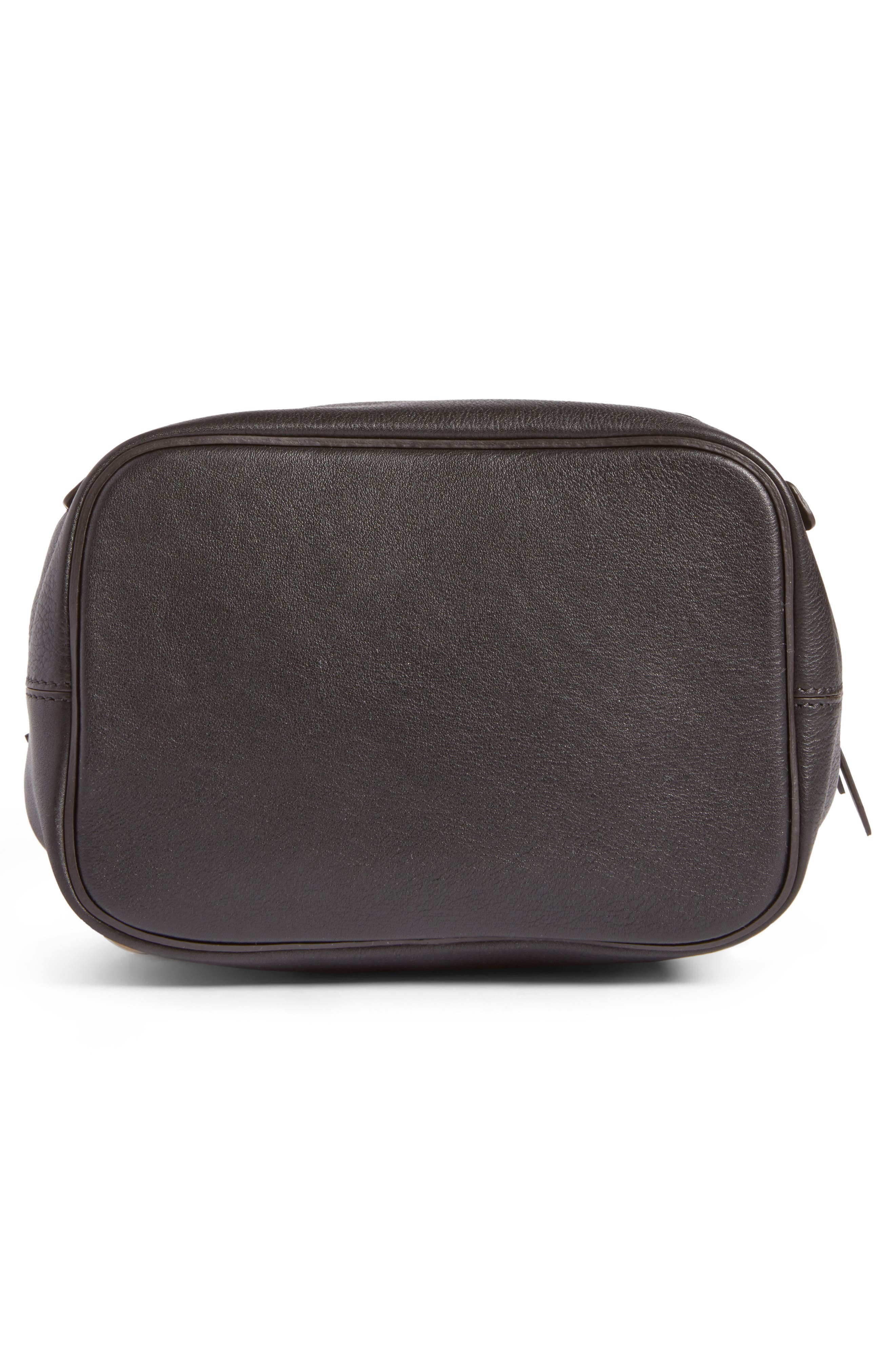 Small Faye Suede & Leather Backpack,                             Alternate thumbnail 6, color,                             Black