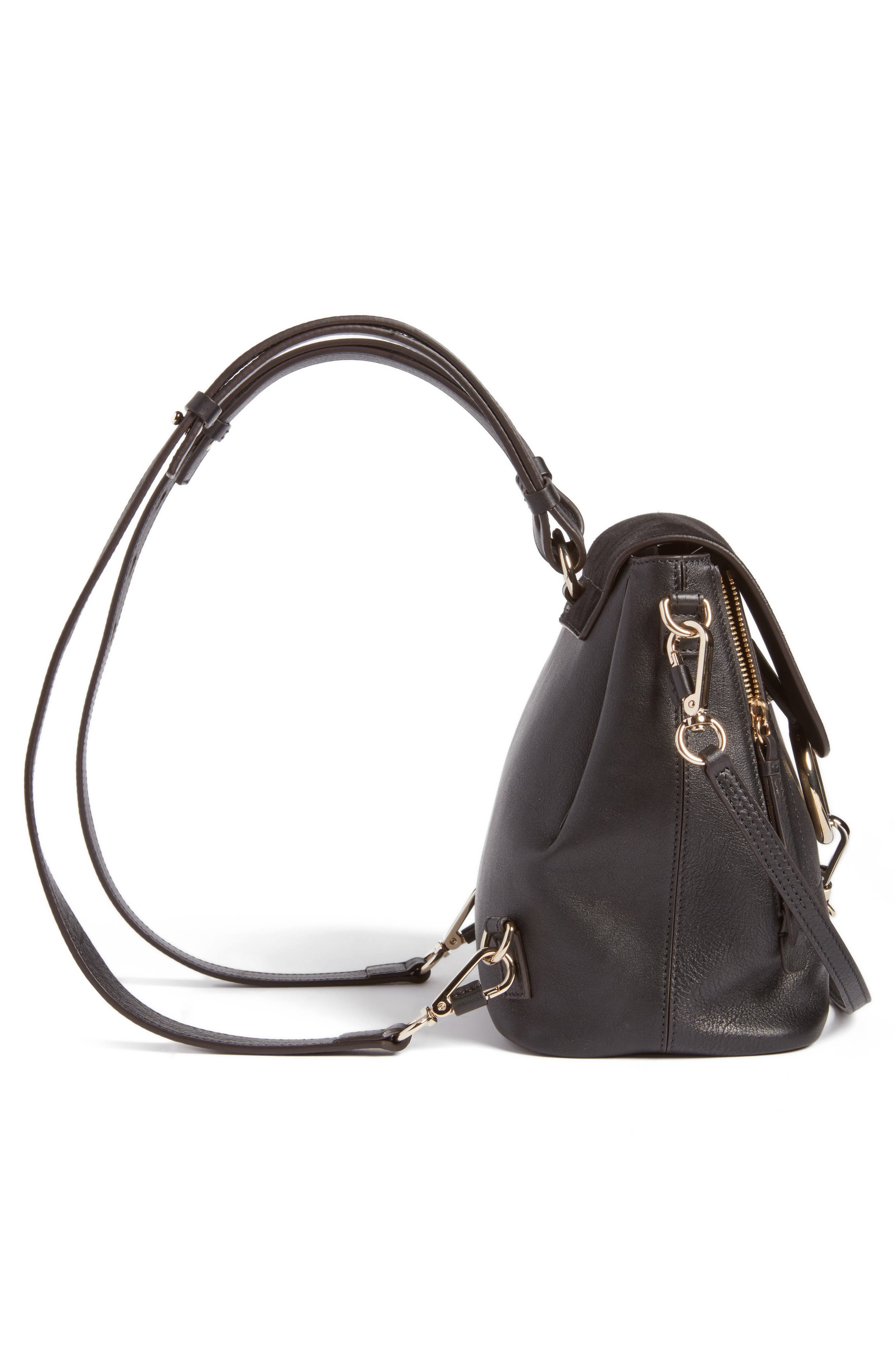 Small Faye Suede & Leather Backpack,                             Alternate thumbnail 4, color,                             Black