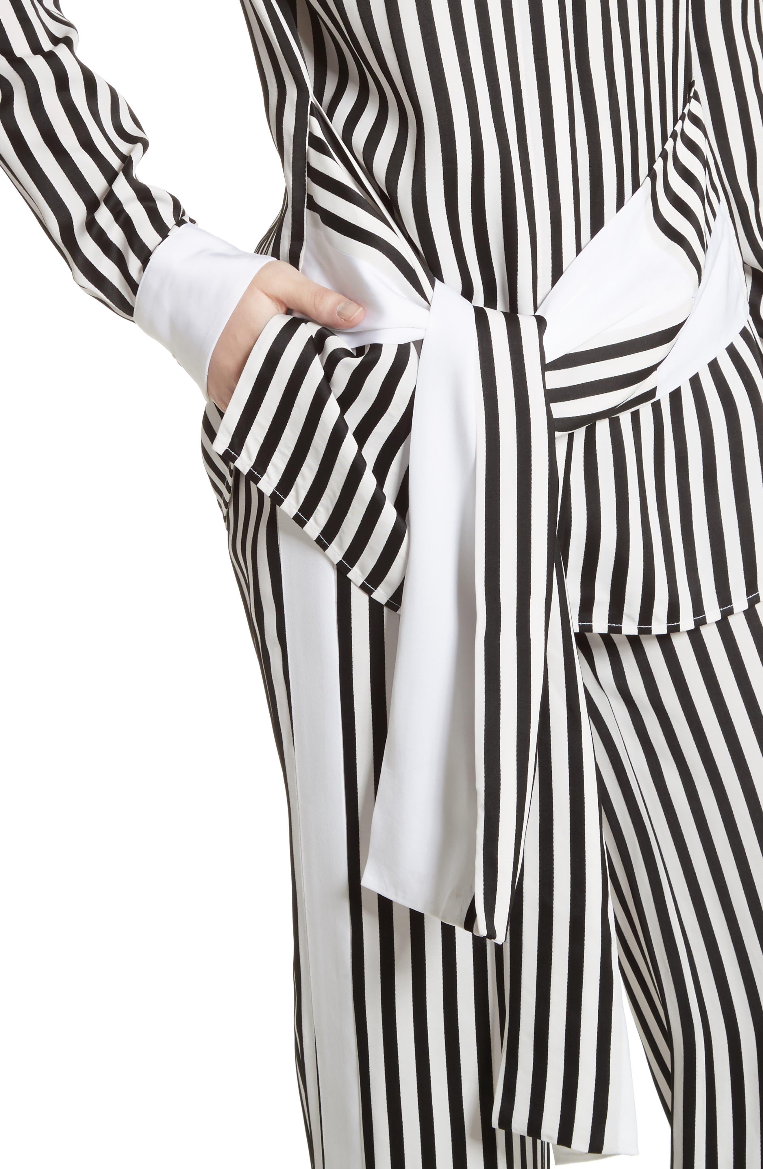 Stripe Tie Waist Blouse,                             Alternate thumbnail 5, color,                             Black/ White