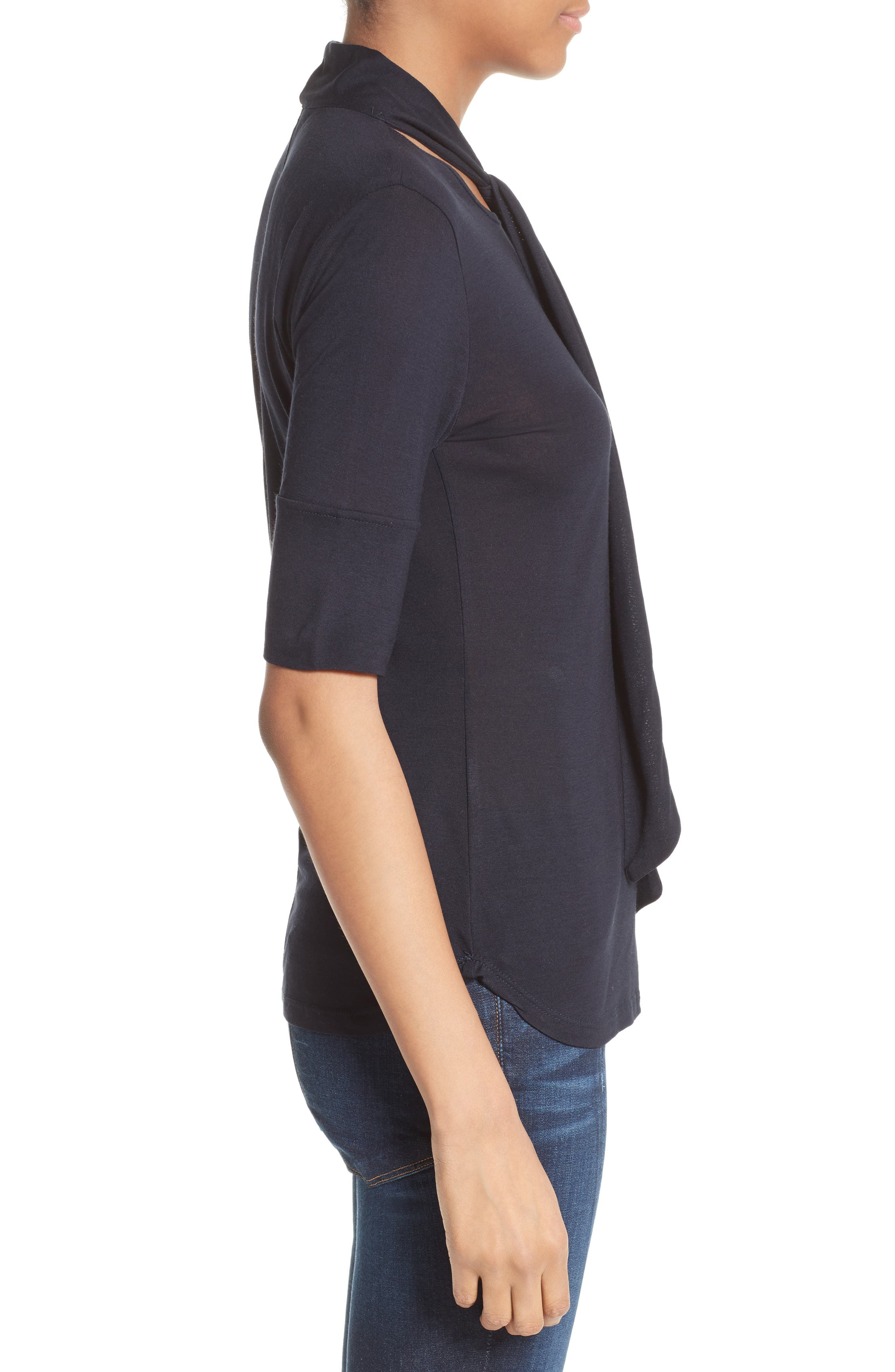 Tie Neck Top,                             Alternate thumbnail 4, color,                             Navy