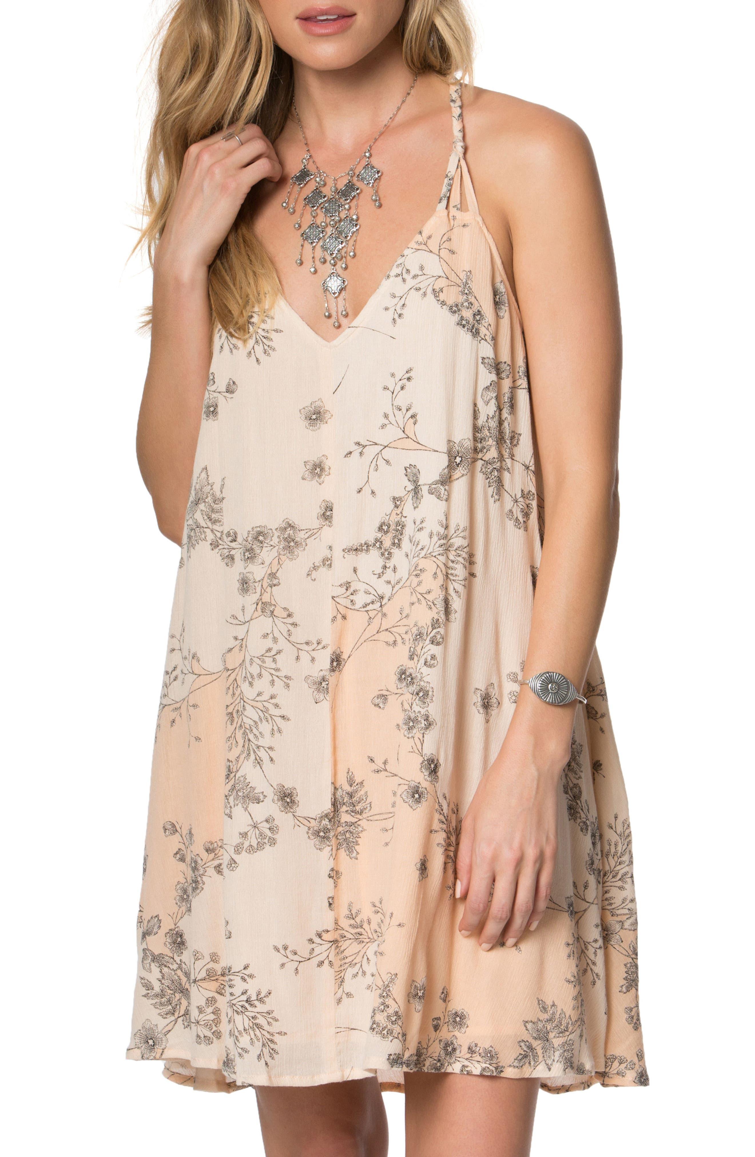 Hazel Floral Print Dress,                         Main,                         color, Peach Puree