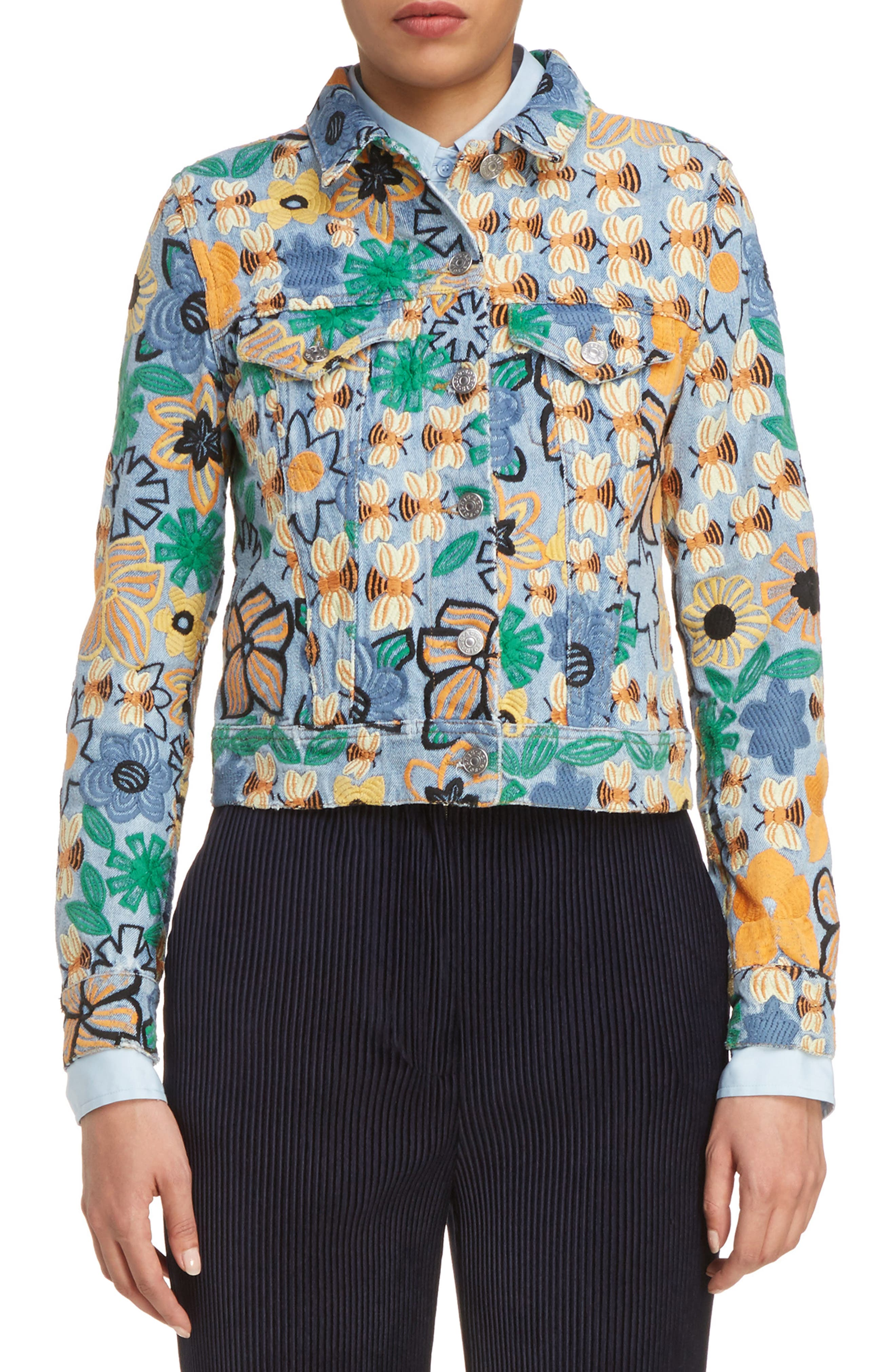 Chea Floral Embroidered Crop Denim Jacket,                         Main,                         color, Multi Floral Bright