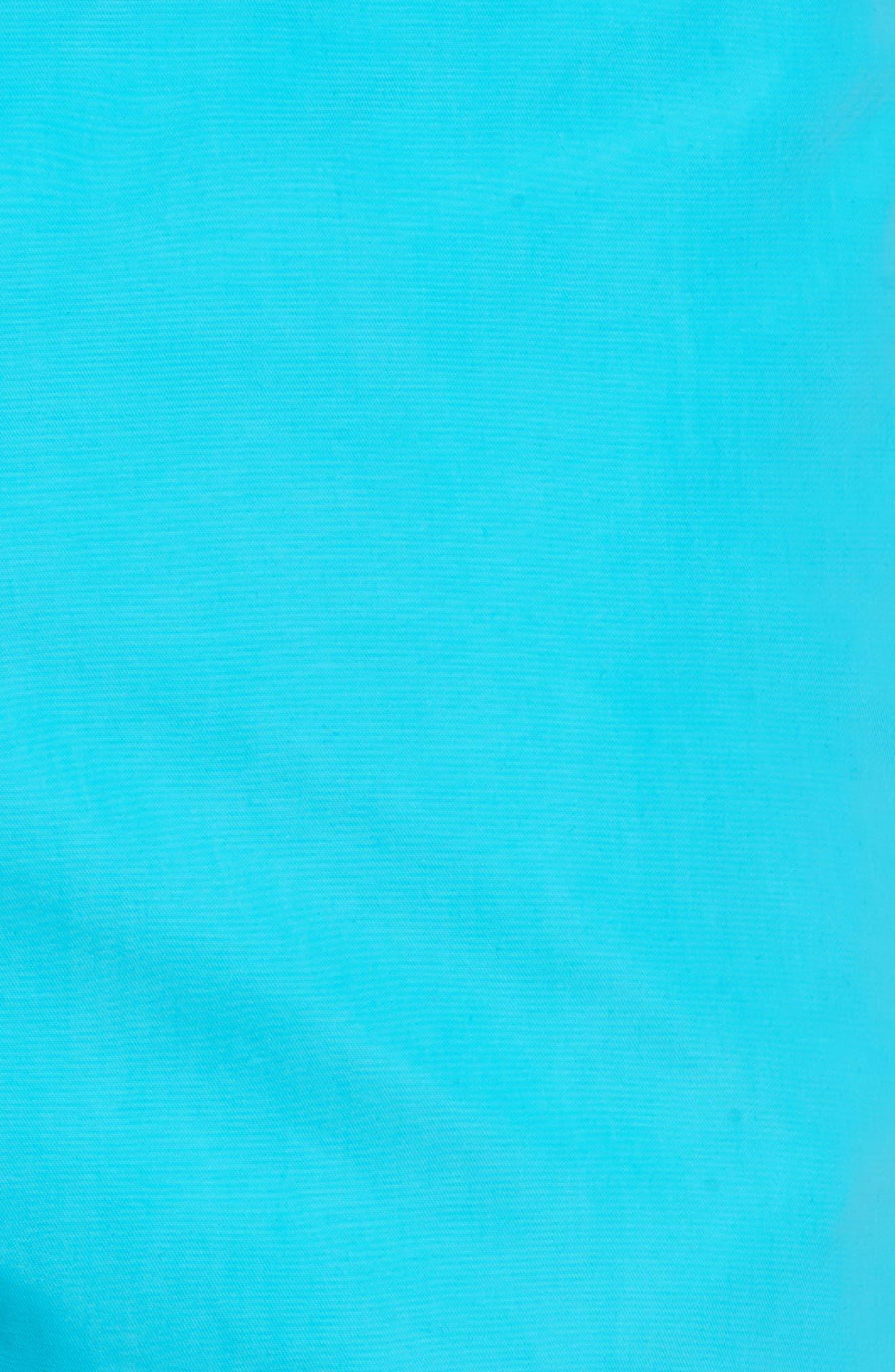 Moorea Water Reactive Swim Trunks,                             Alternate thumbnail 5, color,                             Azure