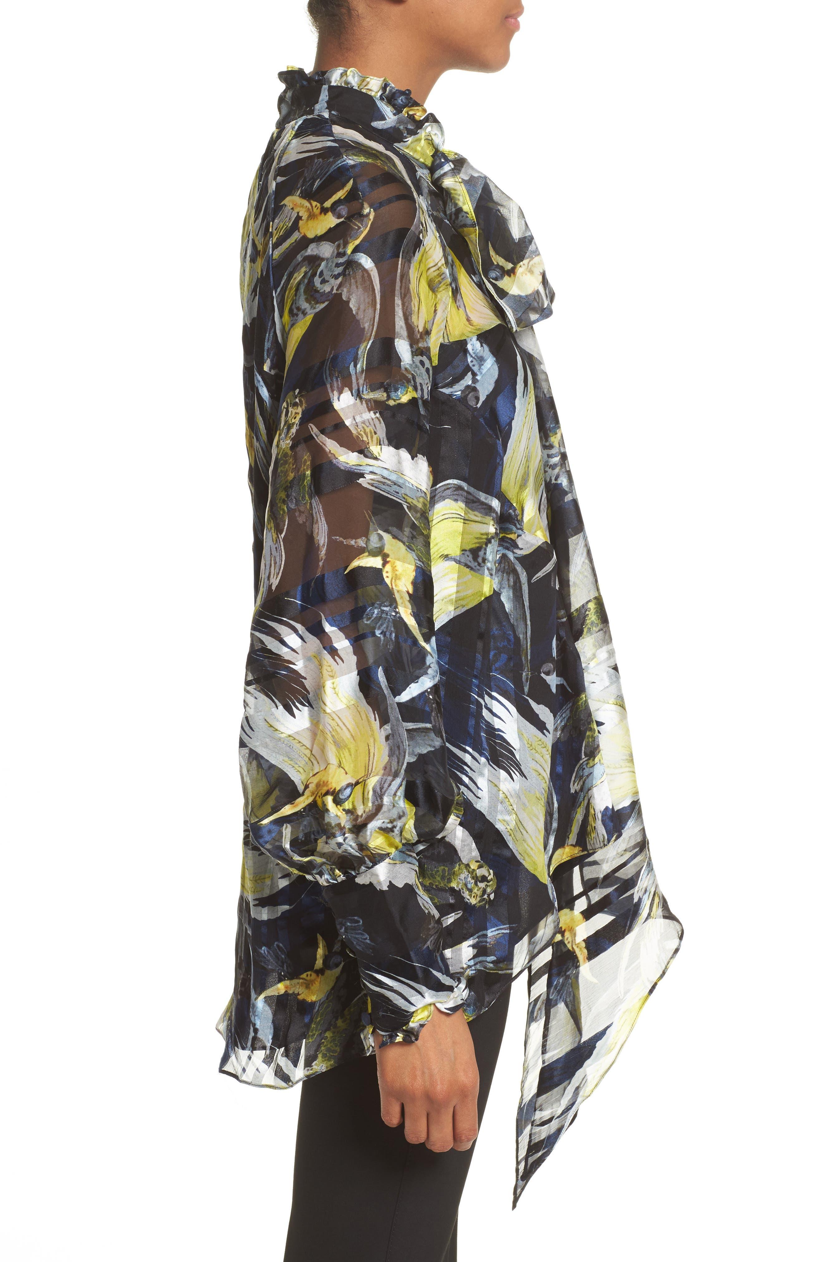 Bird Print Silk Chiffon Blouse,                             Alternate thumbnail 5, color,                             Black/ Yellow