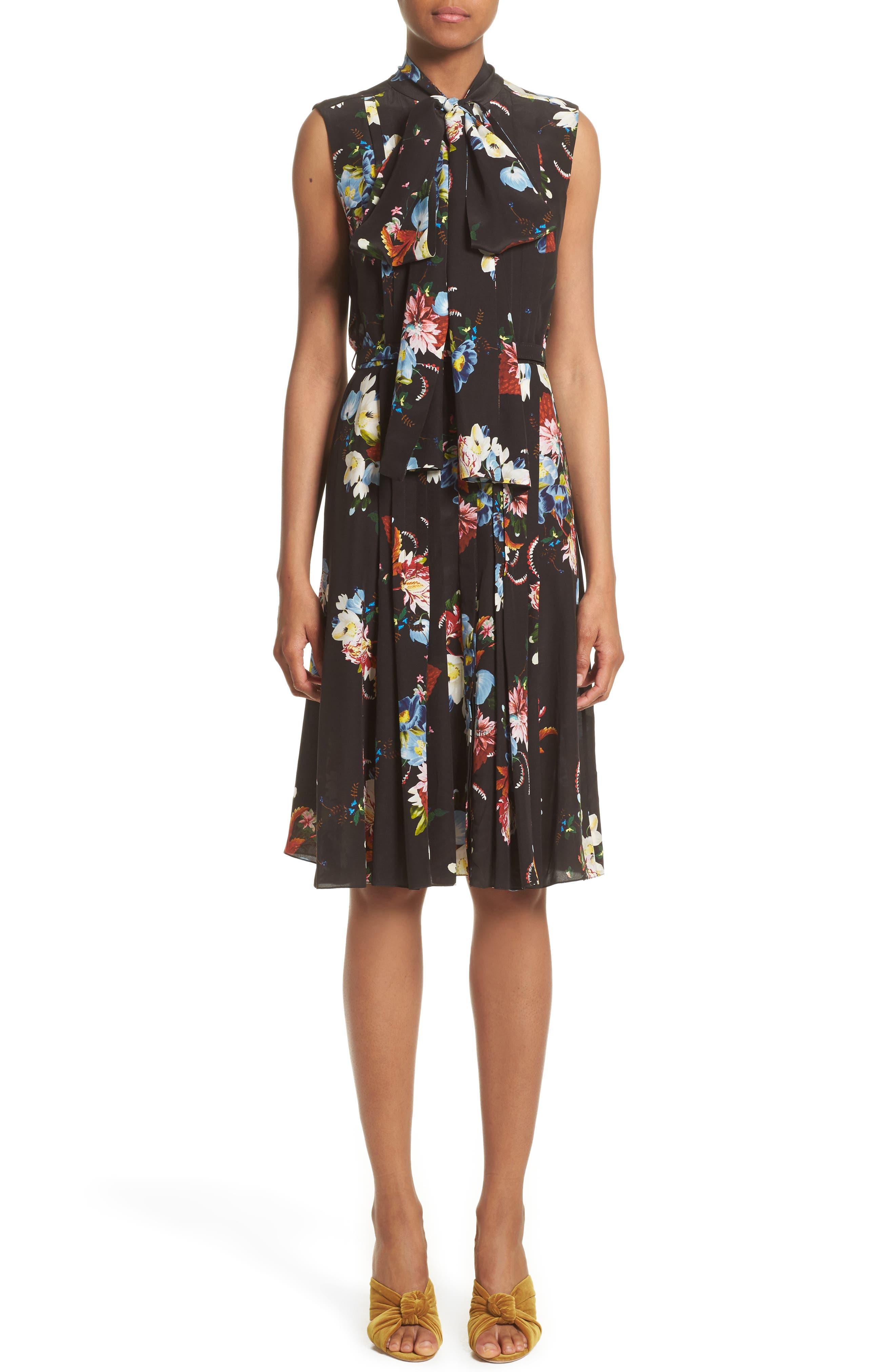 Richelle Tie Neck Floral Print Silk Crêpe de Chine Dress,                         Main,                         color, Black/ Multi