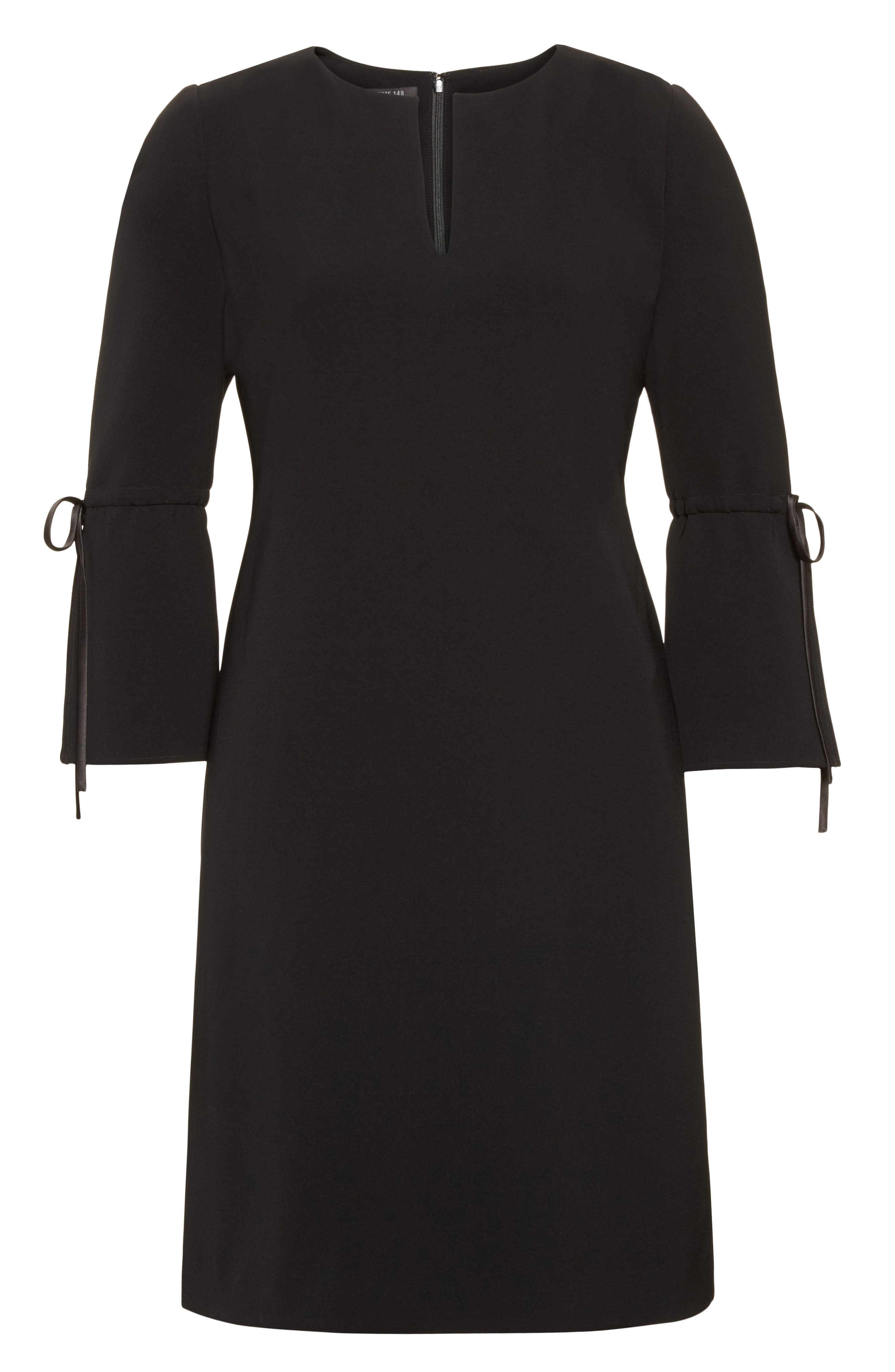 Deandra Tie Sleeve Shift Dress,                             Alternate thumbnail 4, color,                             Black