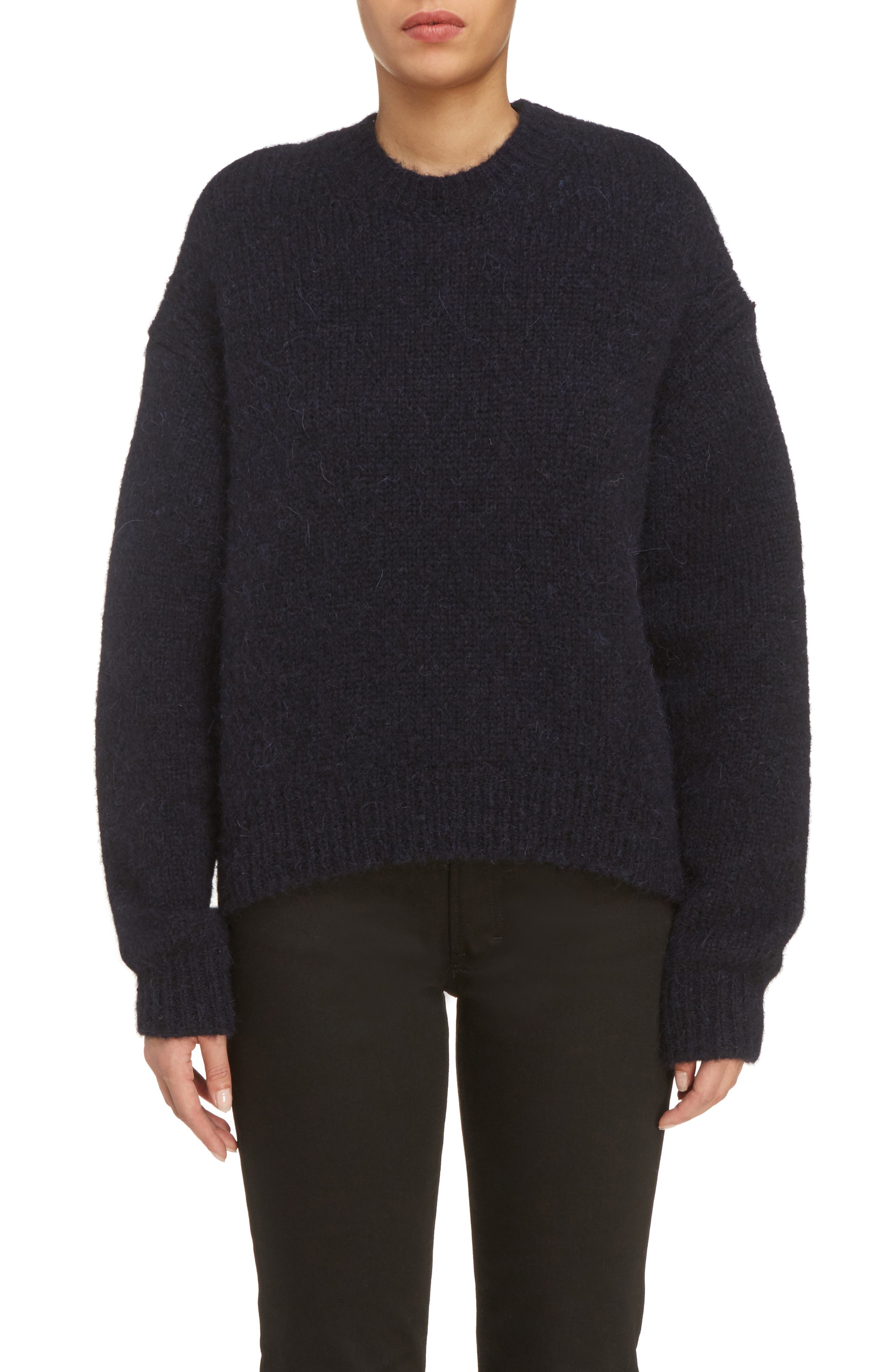 Karel Oversize Merino Sweater,                             Main thumbnail 1, color,                             Black