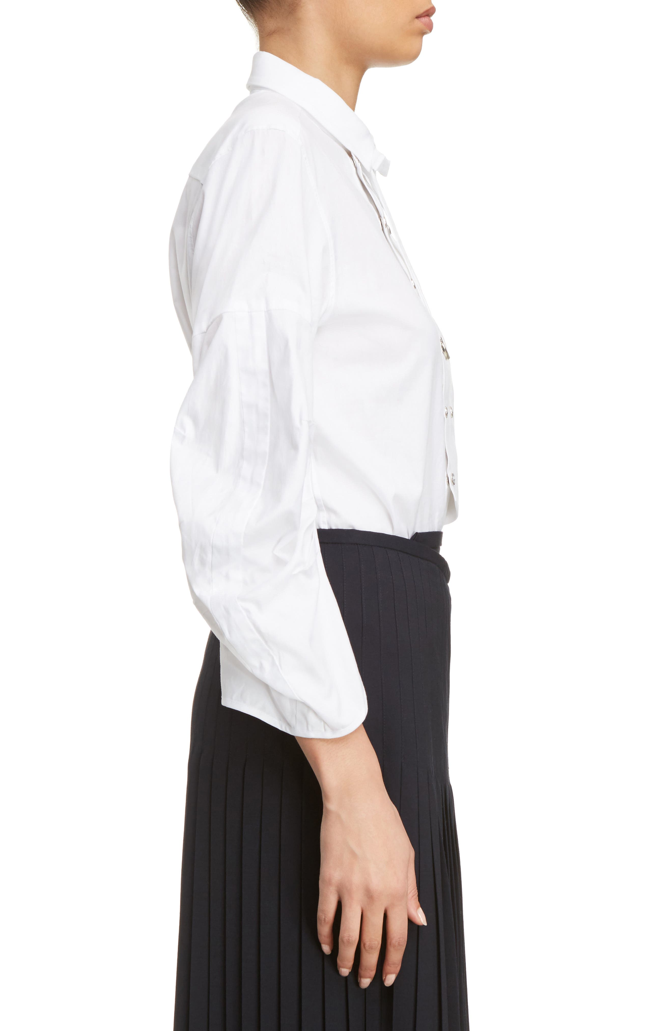 Double Breasted Bow Blouse,                             Alternate thumbnail 3, color,                             White
