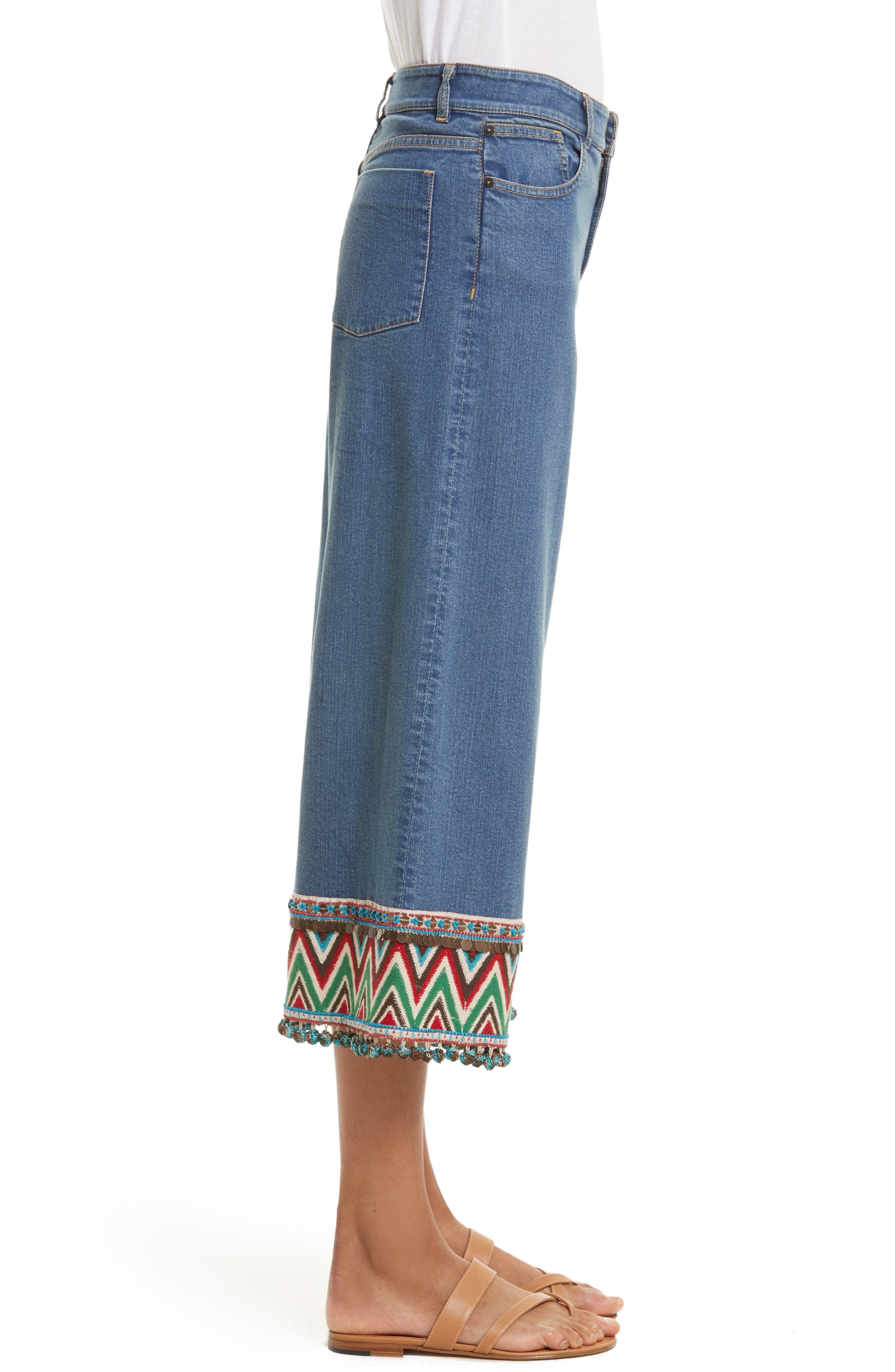 Alternate Image 2  - Alice + Olivia Beta Embellished Wide Leg Crop Jeans