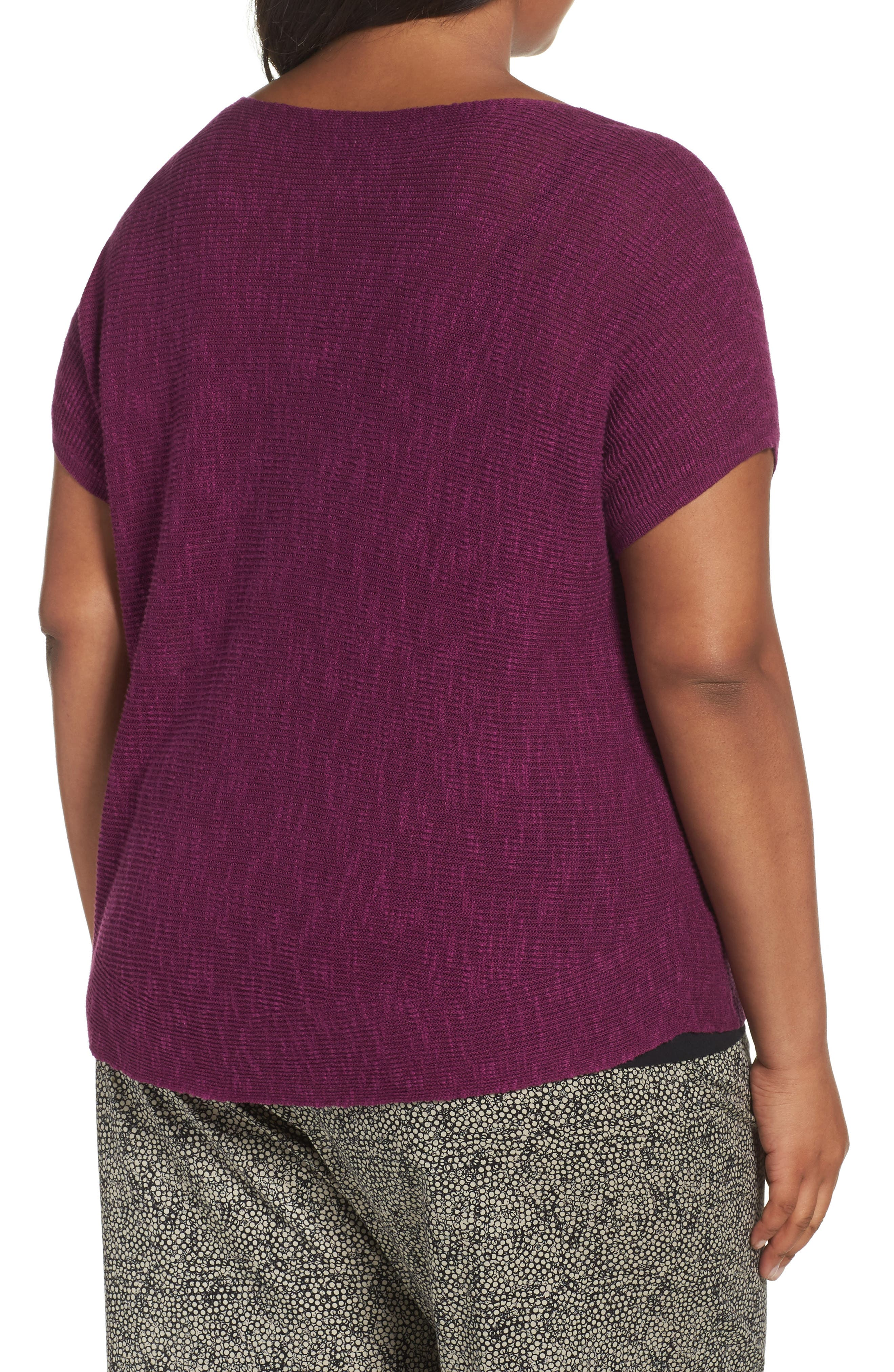 Alternate Image 2  - Eileen Fisher Organic Linen & Cotton Rib Sweater (Plus Size)