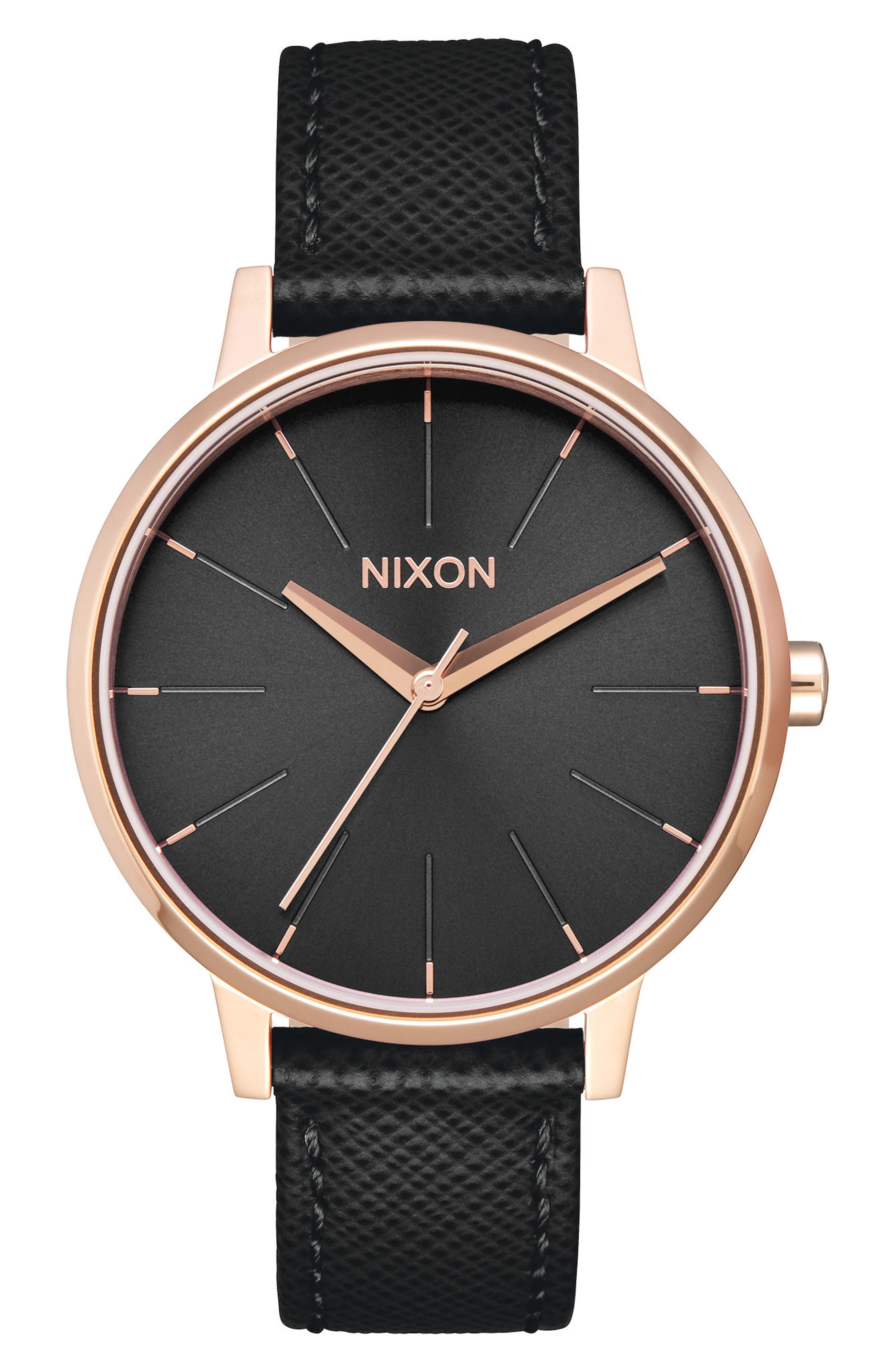 'The Kensington' Leather Strap Watch, 37mm,                         Main,                         color, Black/ Rose Gold
