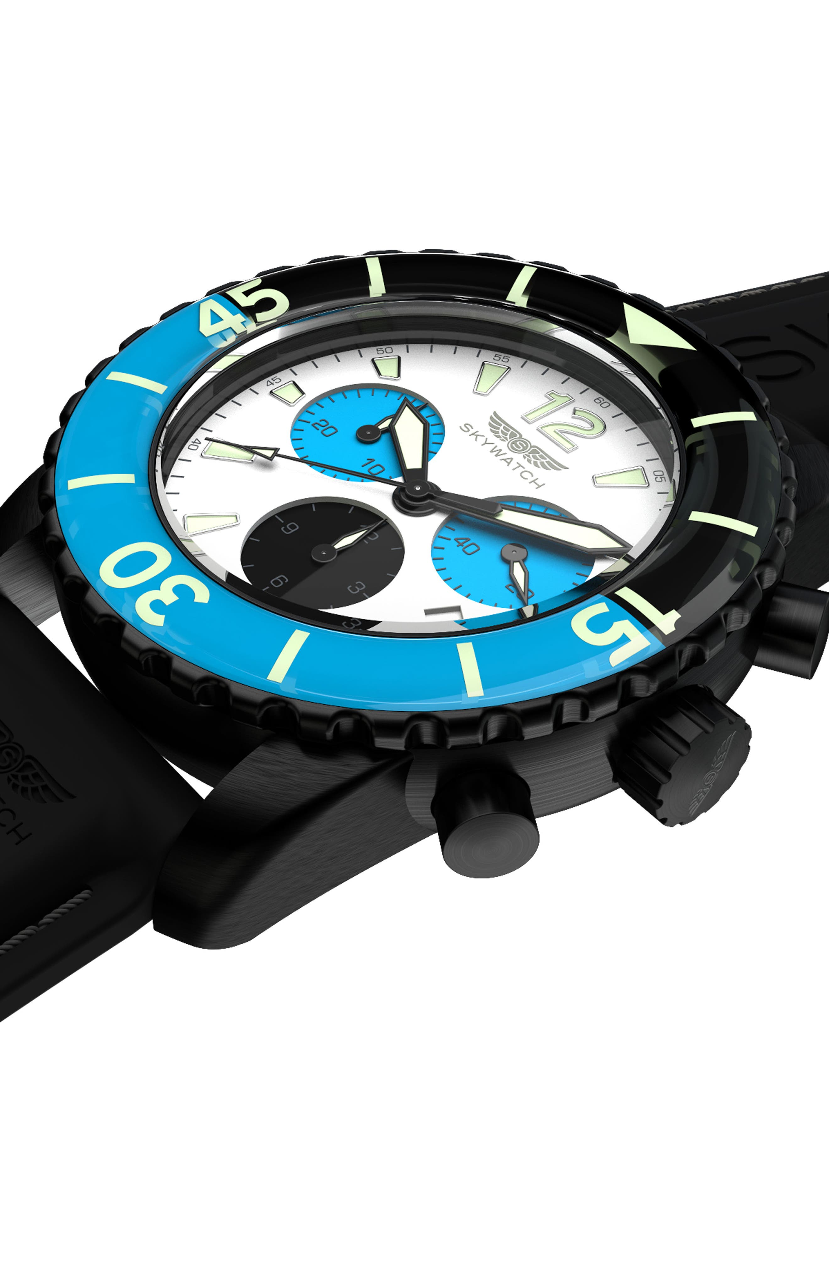 Alternate Image 4  - SKYWATCH Classic Chronograph Silicone Strap Watch, 44mm